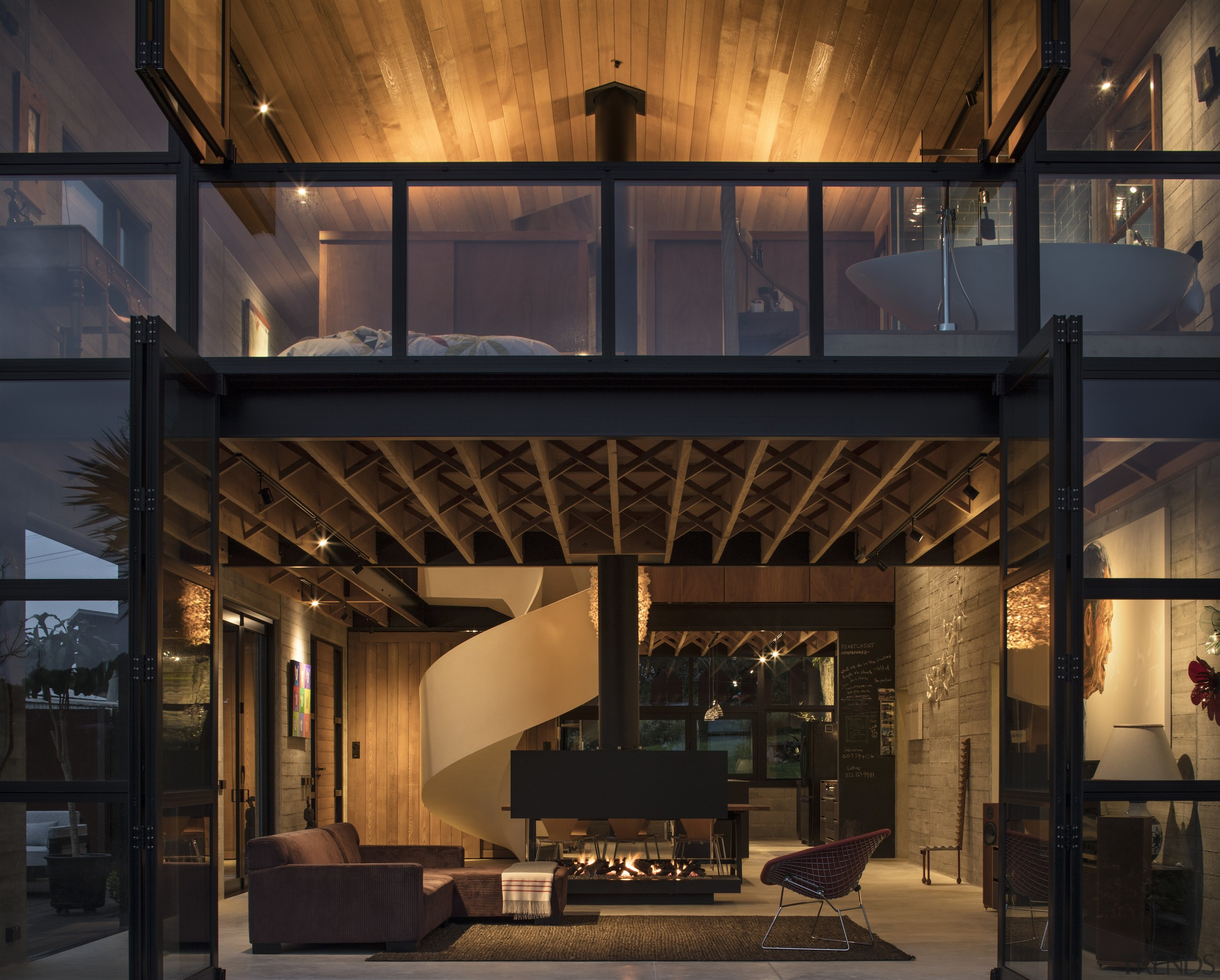 Mezzanine spaces sit at both ends of the architecture, home, interior design, lighting, black