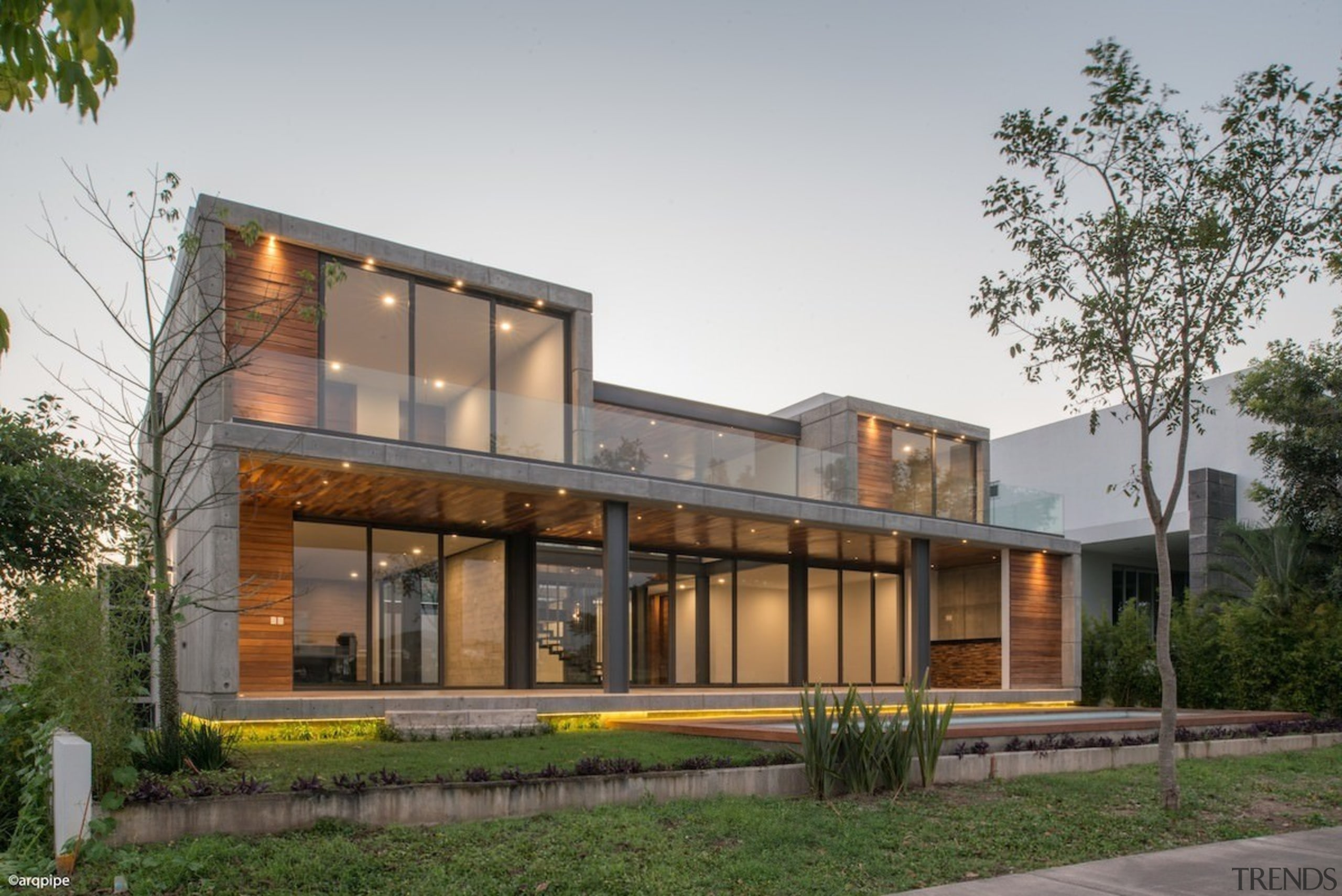 Colima home/Di Frenna Arquitectos - Colima home/Di Frenna architecture, building, elevation, facade, home, house, mixed use, property, real estate, residential area, gray, brown