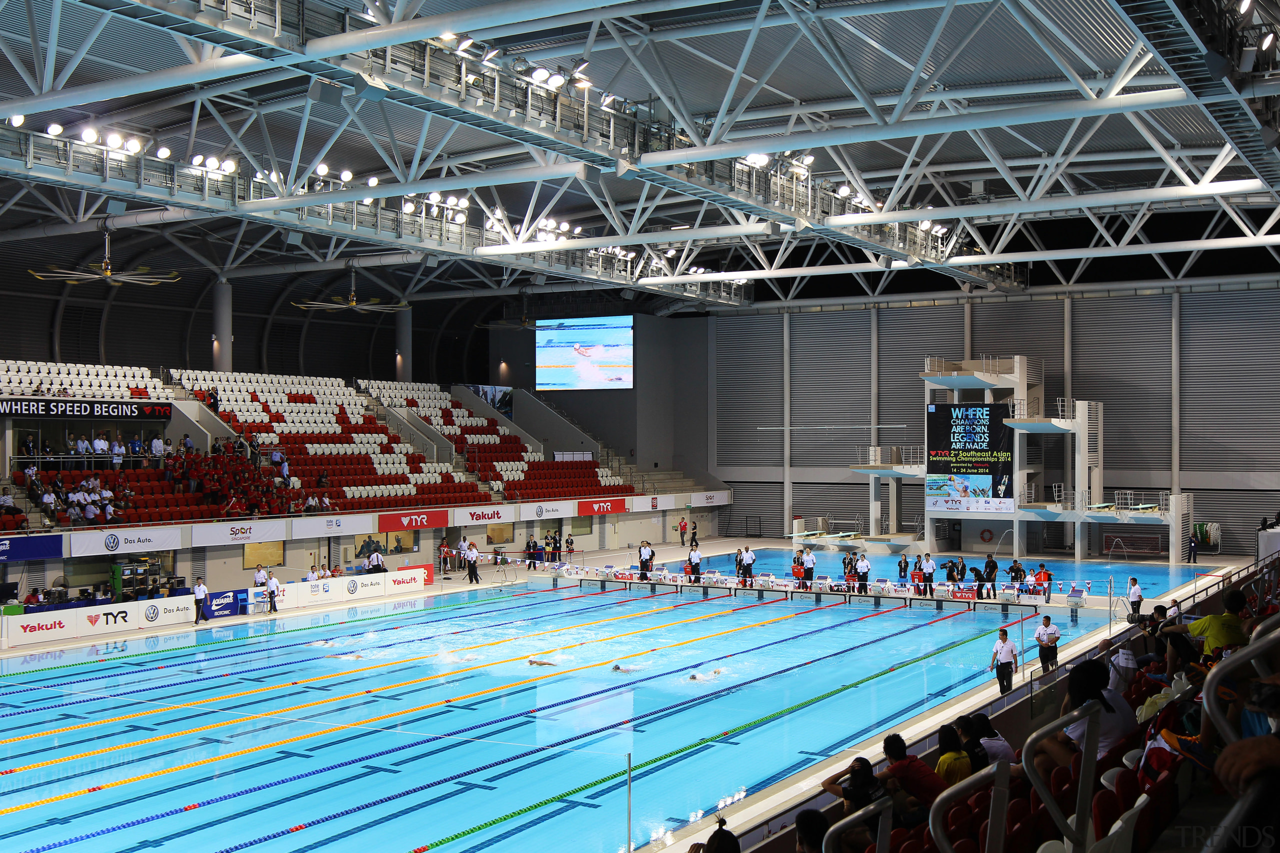 The OCBC Aquatic Centre was designed by Arup arena, championship, competition, competition event, indoor games and sports, leisure, leisure centre, recreation, sport venue, sports, structure, black, gray