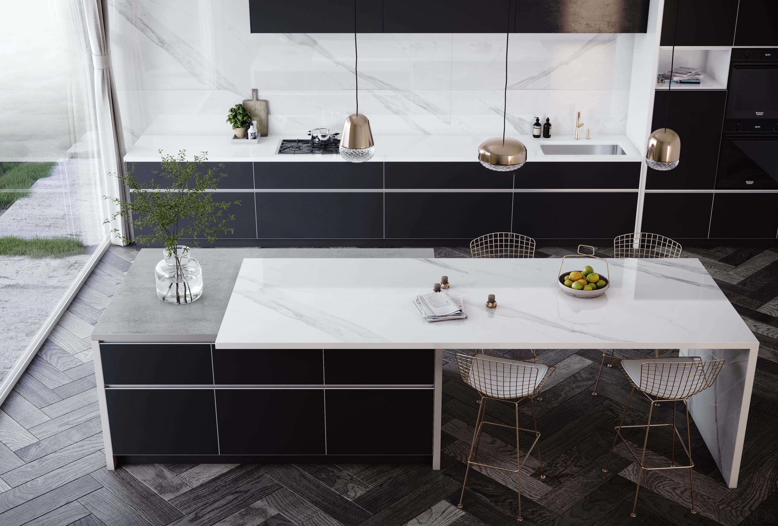 Dekton Kitchen – Olimpo - architecture | bathroom architecture, bathroom, black, countertop, design, floor, flooring, furniture, house, interior design, kitchen, marble, material property, property, room, sink, table, tap, tile, wall, white, black, gray, white