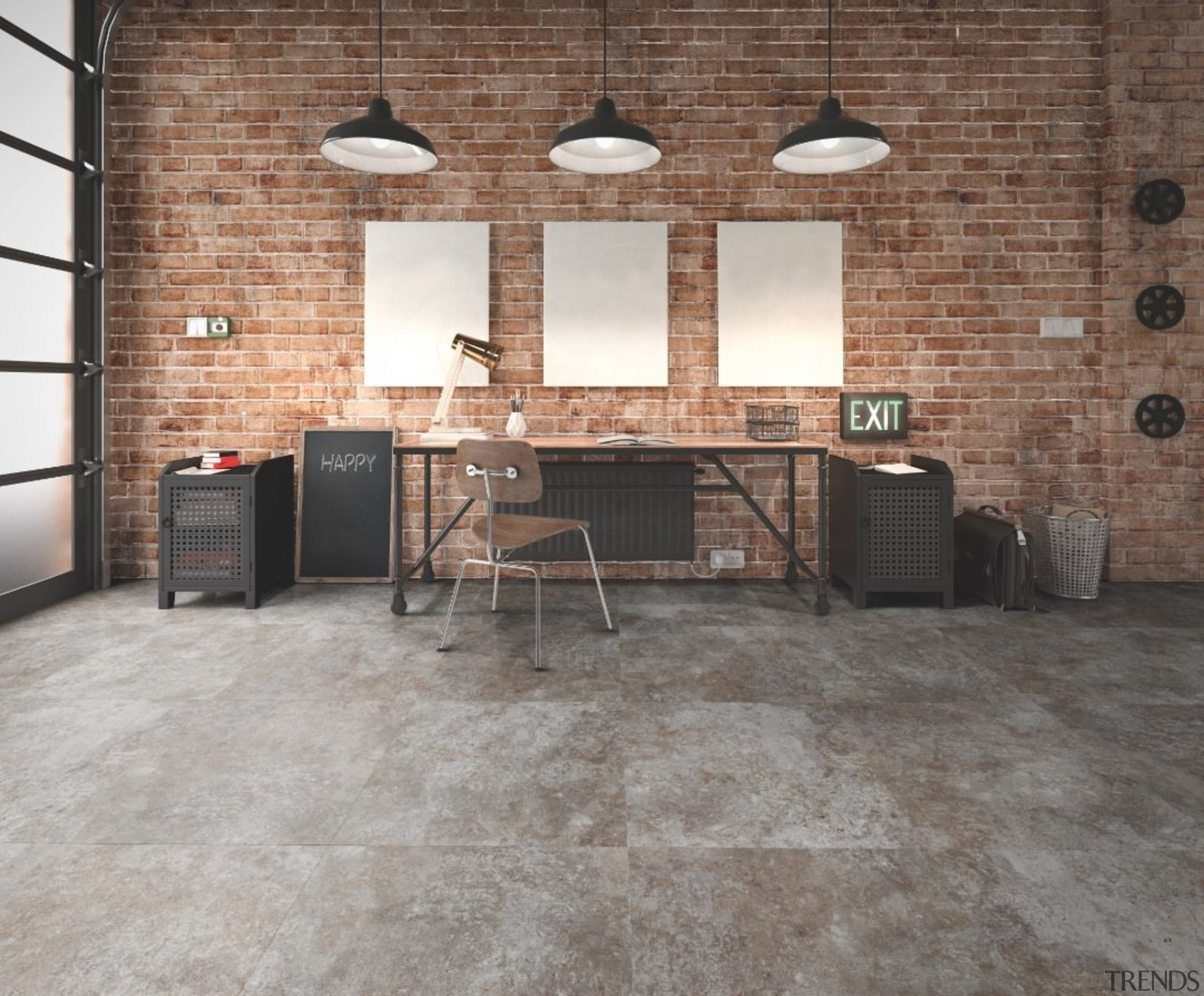Polyflor Expona Commercial PUR is also ideal for brick, floor, flooring, furniture, laminate flooring, loft, tile, wall, wood flooring, gray, brown