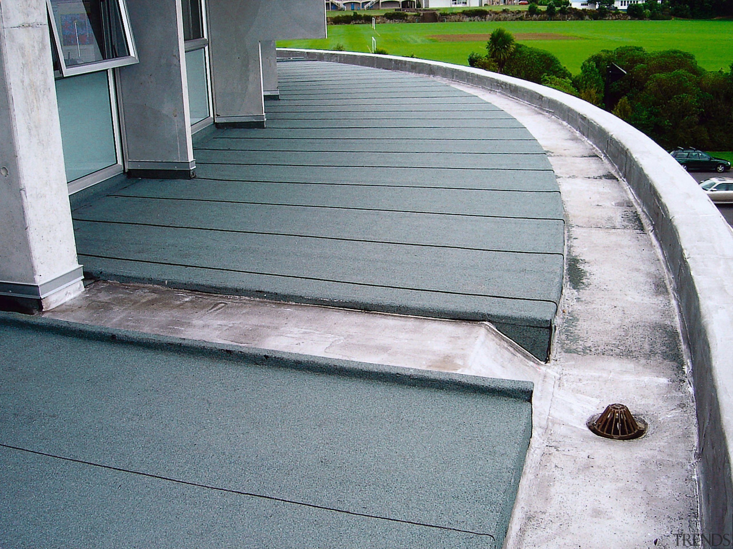 Waterproof roofing has been applied to these top architecture, asphalt, daylighting, floor, road surface, walkway, gray