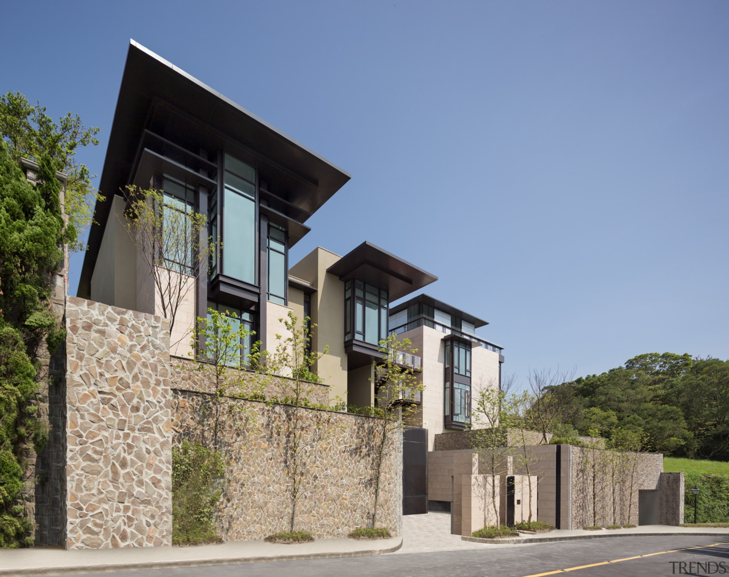 Taiwan Villa - Jim Olson Houses - architecture architecture, building, cottage, elevation, estate, facade, home, house, neighbourhood, property, real estate, residential area, villa, teal
