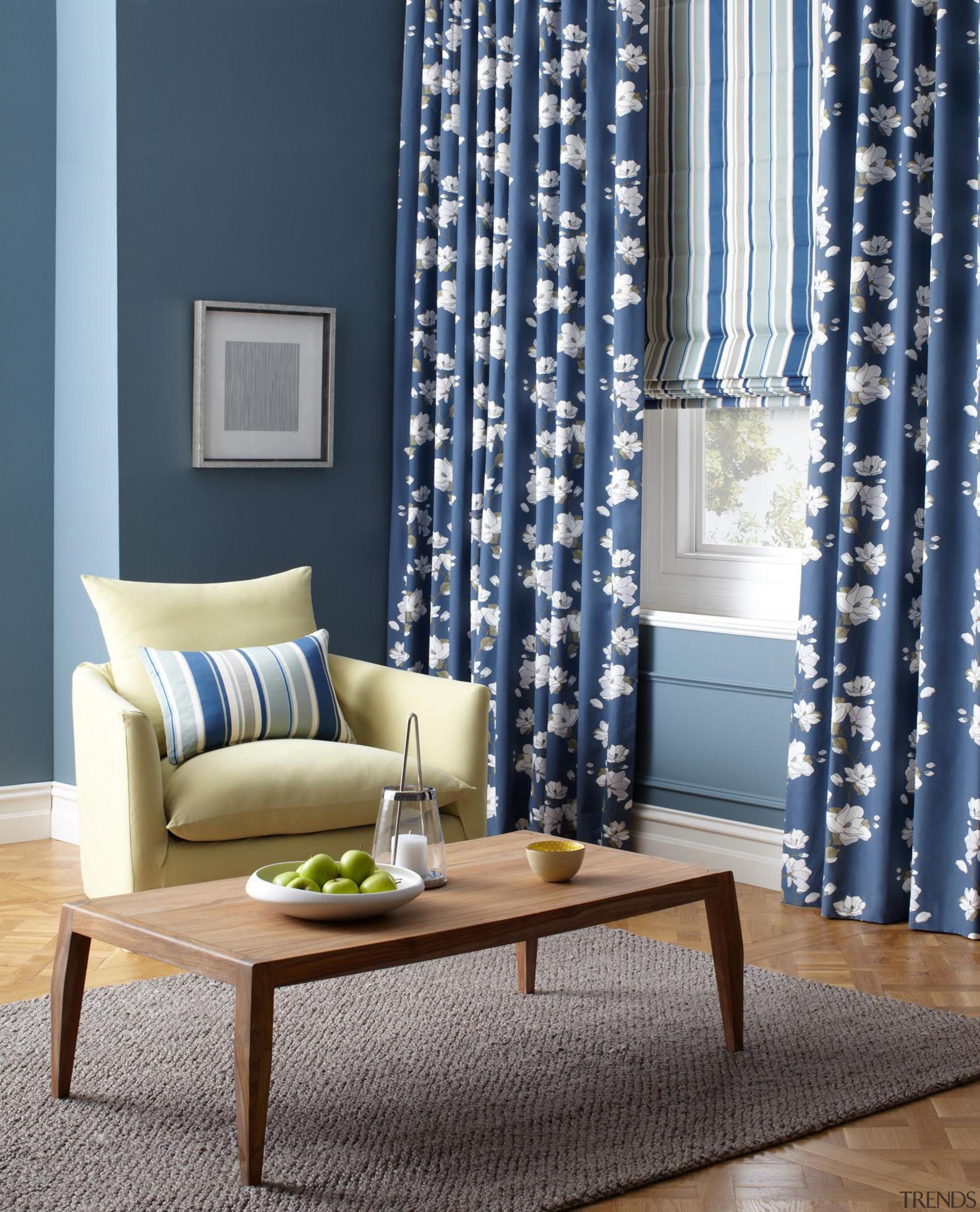 Grandiflora & Marbella - Grandiflora - blue | blue, couch, curtain, decor, home, interior design, living room, table, textile, window, window blind, window covering, window treatment, gray