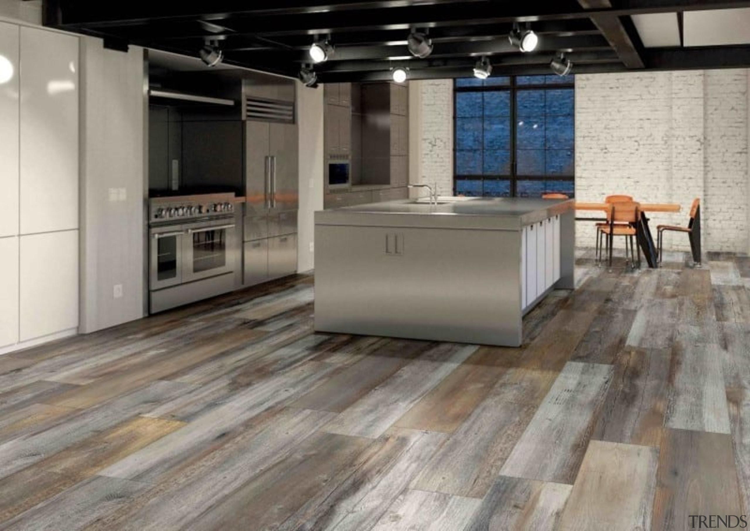 An Italian made tile that has all the floor, flooring, hardwood, kitchen, laminate flooring, tile, wood, wood flooring, gray
