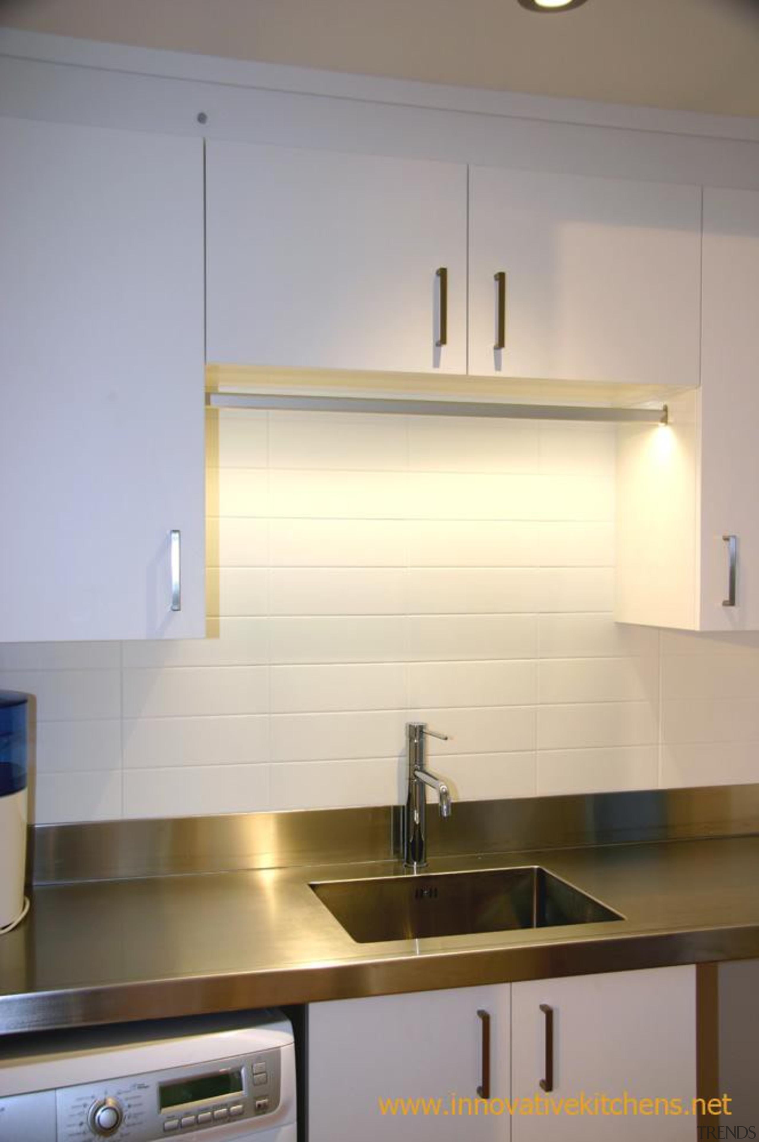 Laundry, LED inside clothing rail. - modern_glendowie_2013_8.jpg - cabinetry, countertop, interior design, kitchen, light fixture, lighting, room, sink, under cabinet lighting, gray
