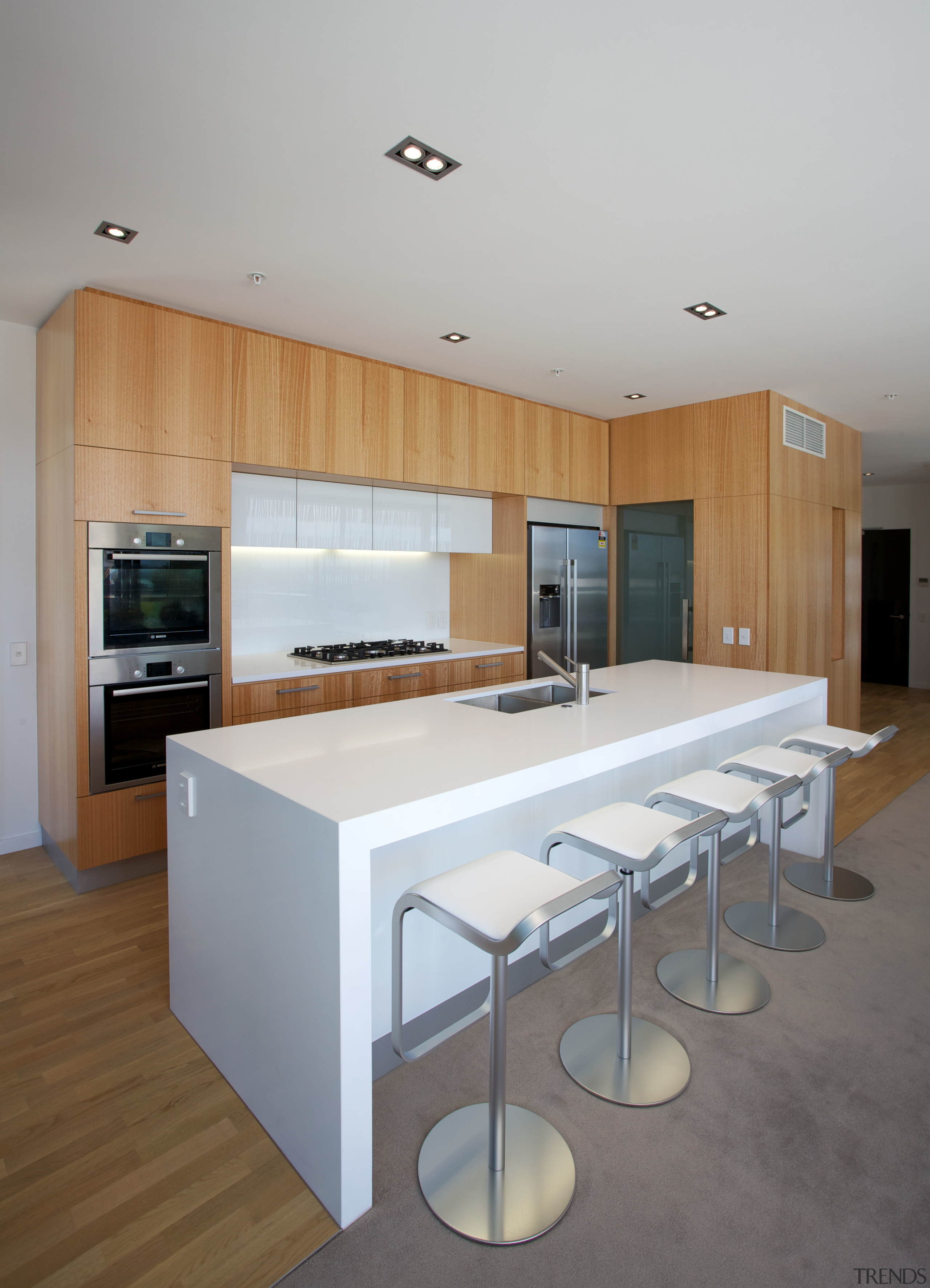 Each penthouse in this new development by the architecture, cabinetry, countertop, interior design, kitchen, real estate, gray