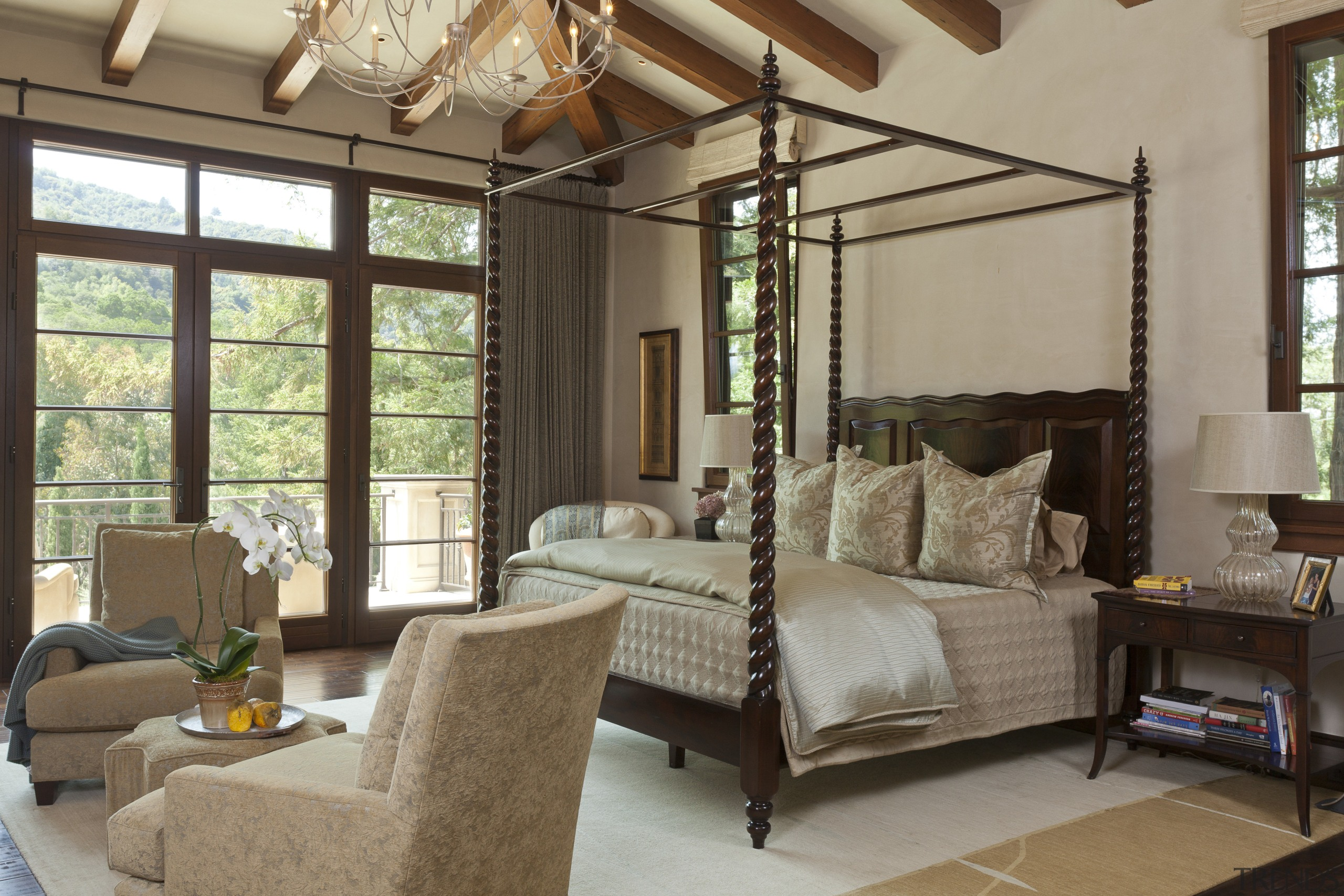 The master bedroom in this Mediterranean Californian home ceiling, estate, furniture, home, interior design, living room, real estate, room, window, window treatment, brown