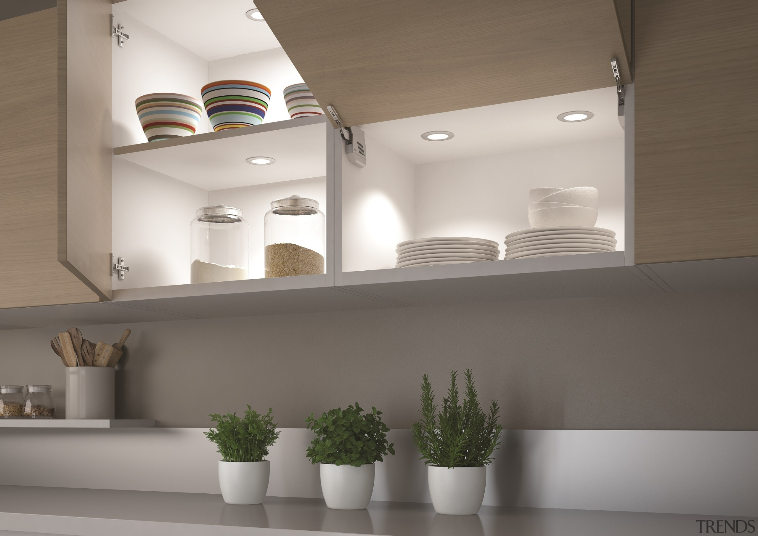 Smally collection - innovative LED spotlights with 33 architecture, ceiling, home, interior design, light fixture, product design, shelf, shelving, tap, gray