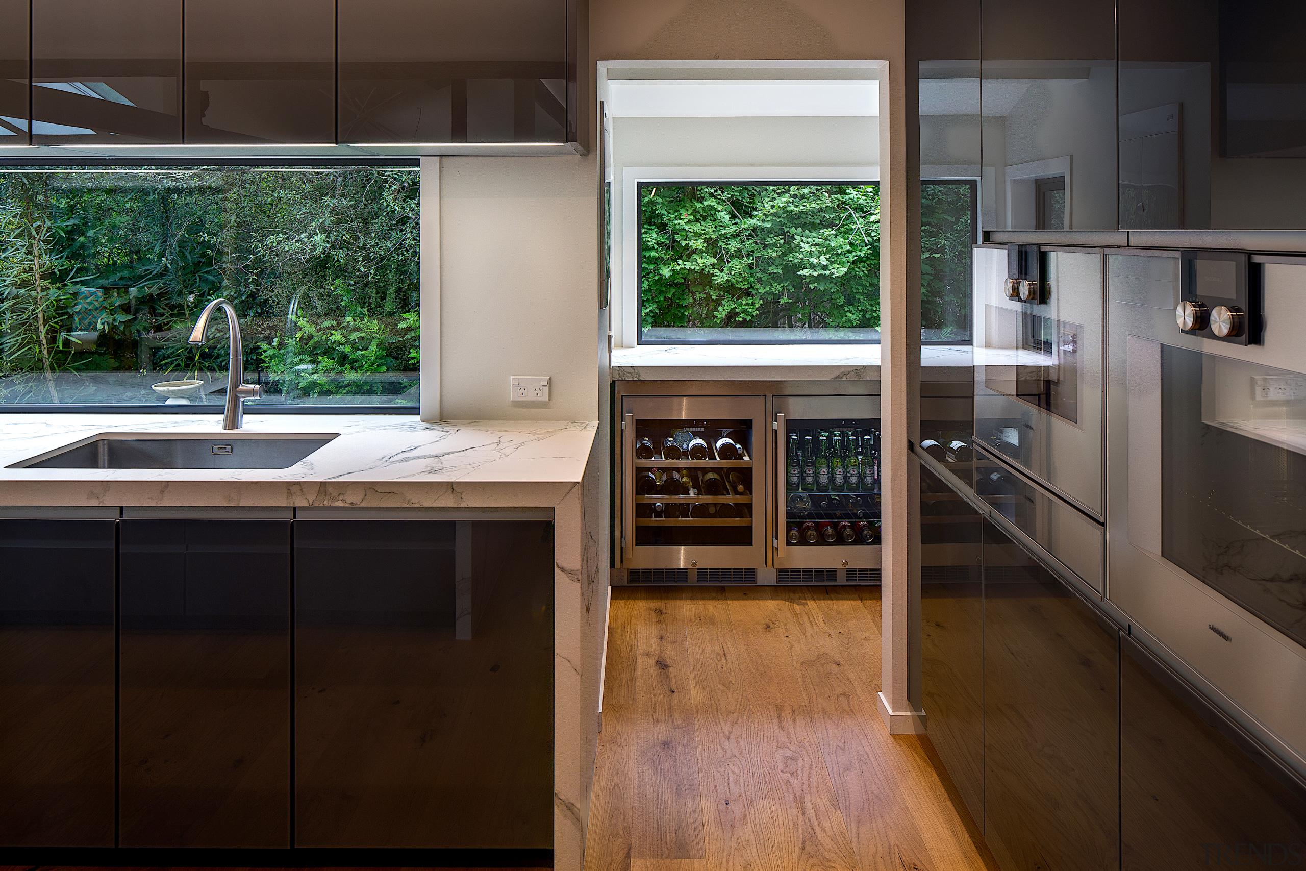 Always nice that the wine fridge is near