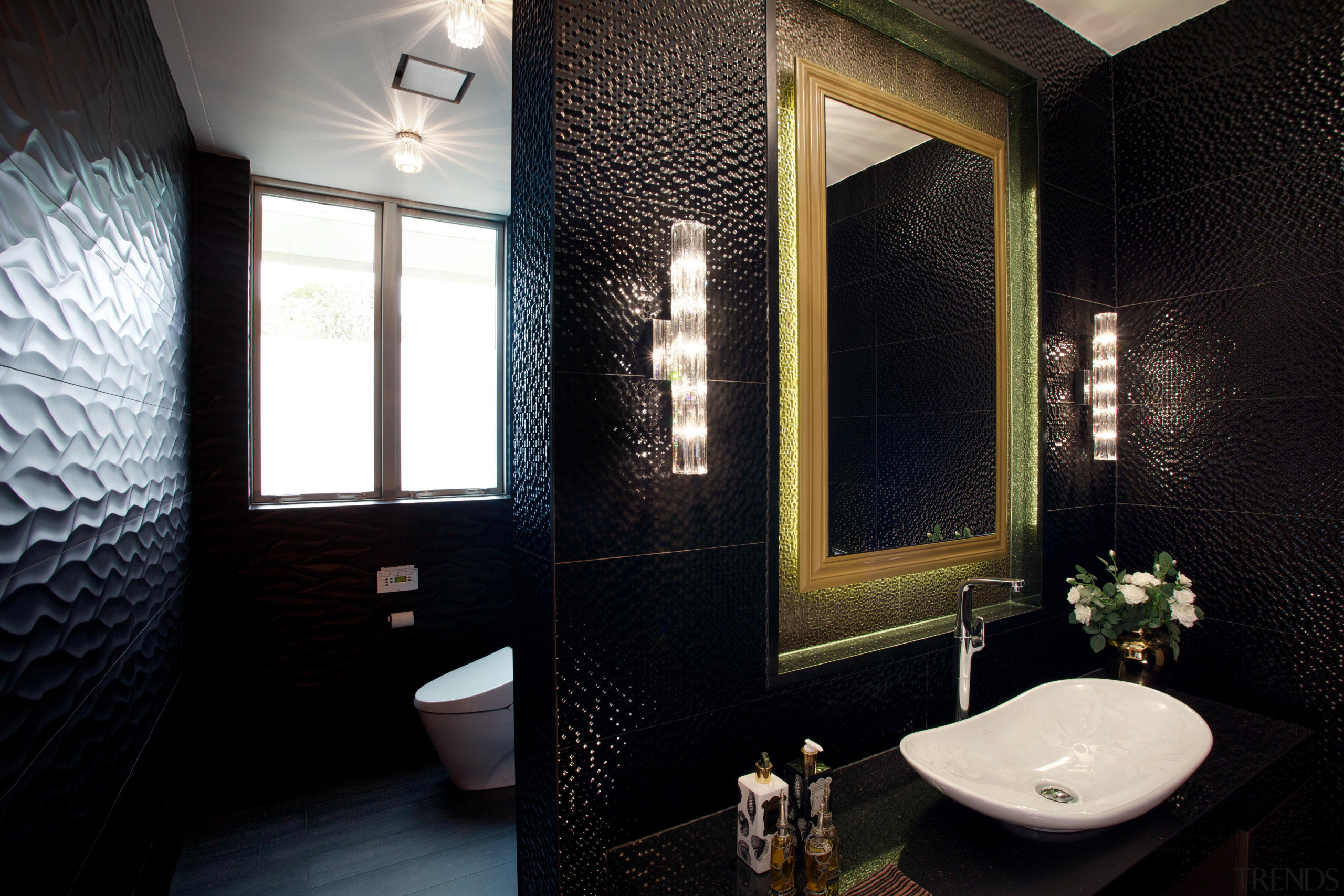The toilet area is tucked away behind the architecture, bathroom, ceiling, home, interior design, room, window, black