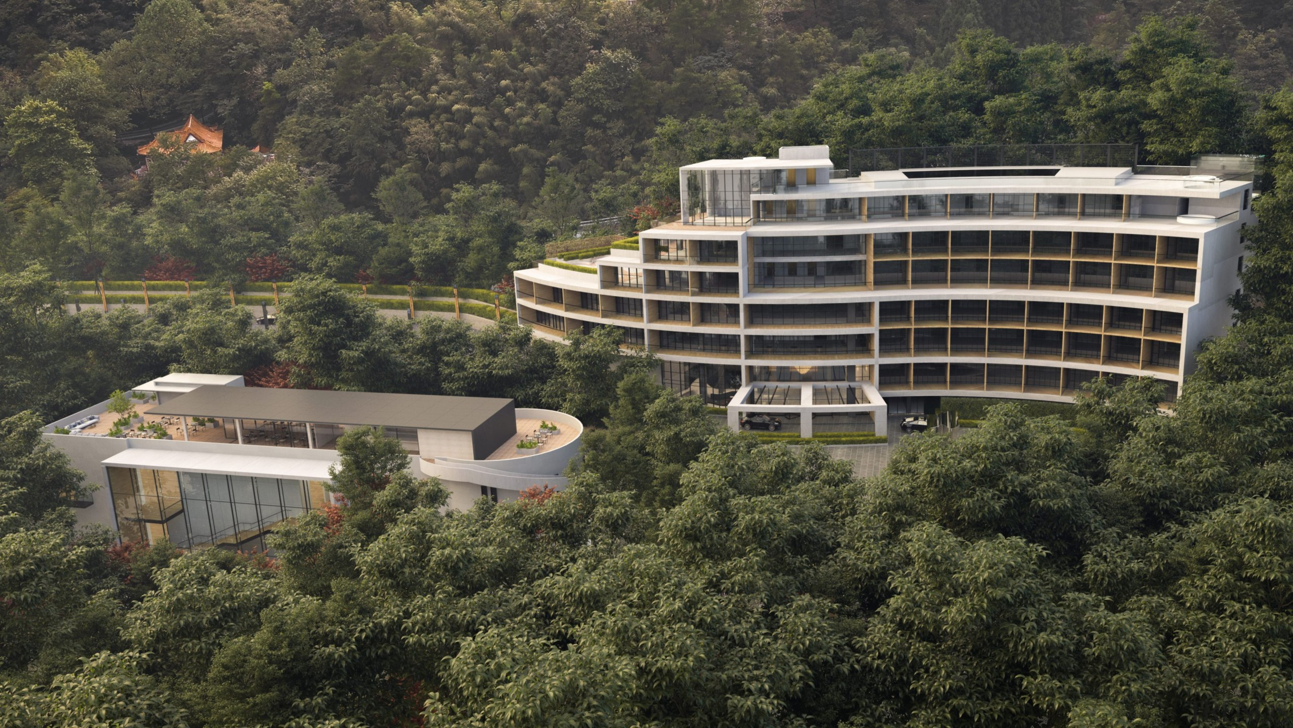 Designed by Bonham Architecture and Interiors this hotel architecture, hotel, China, bird's-eye view, building, city, condominium, hill station, landscape, mixed-use, property, real estate, residential area, urban design, black, brown