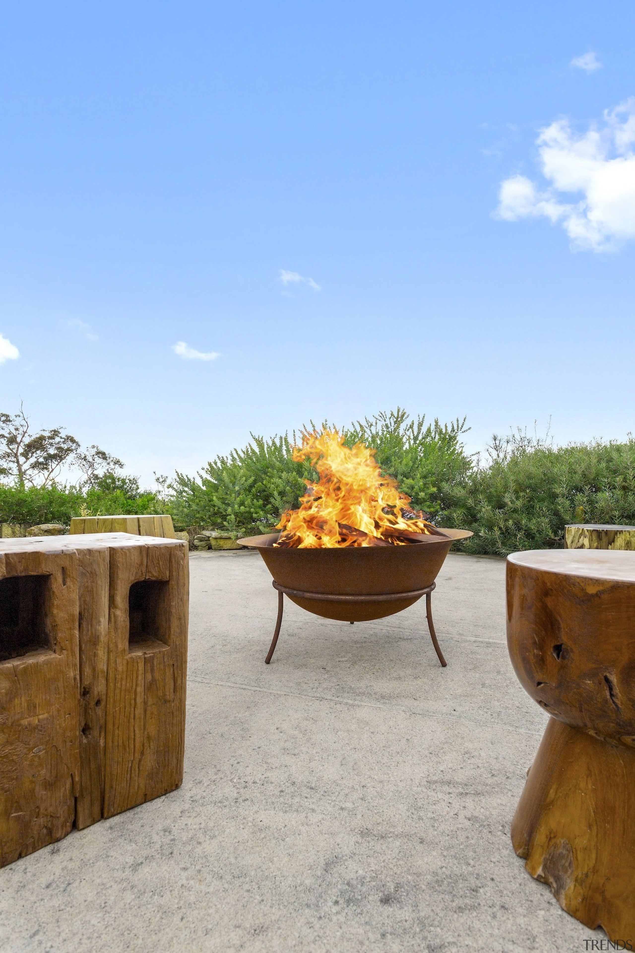 Look outdoors, too. A fire pit is a landscape, plant, teal, gray