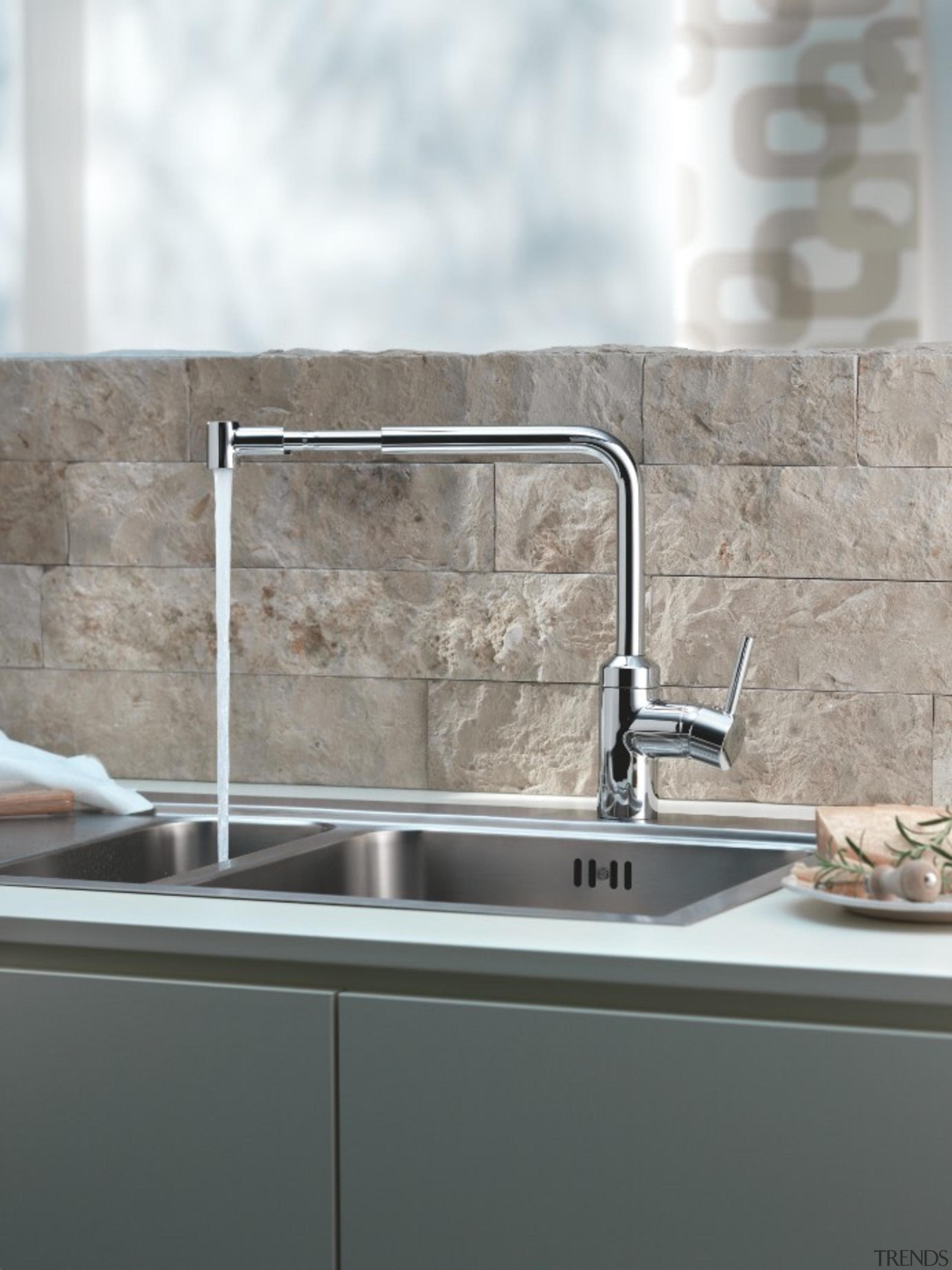 The L-INE Sink Mixer range from Kludi is countertop, kitchen, plumbing fixture, sink, tap, tile, gray, white