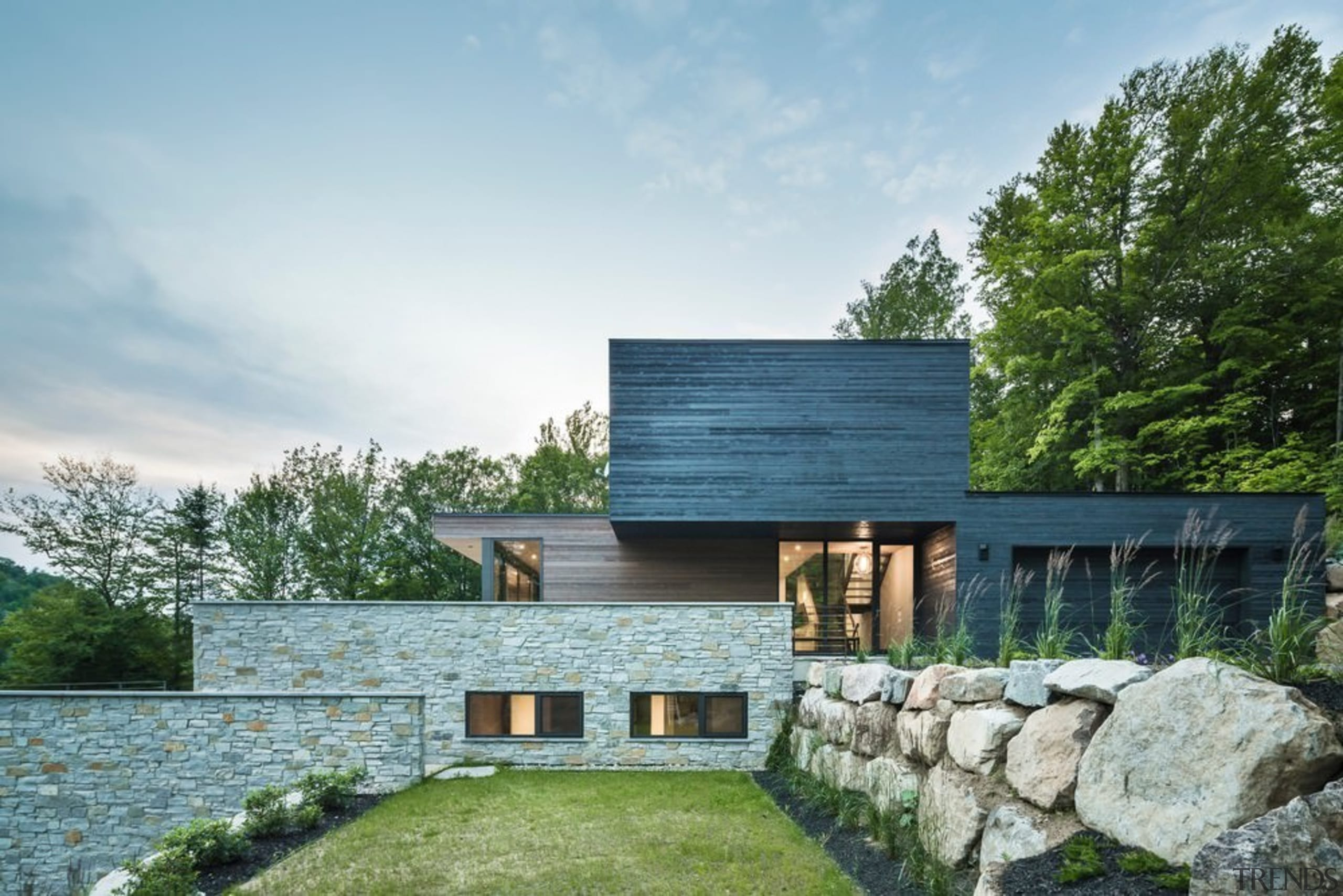 Estrade Residence achieves both privacy and connection to architecture, cottage, estate, facade, farmhouse, home, house, property, real estate, villa, white