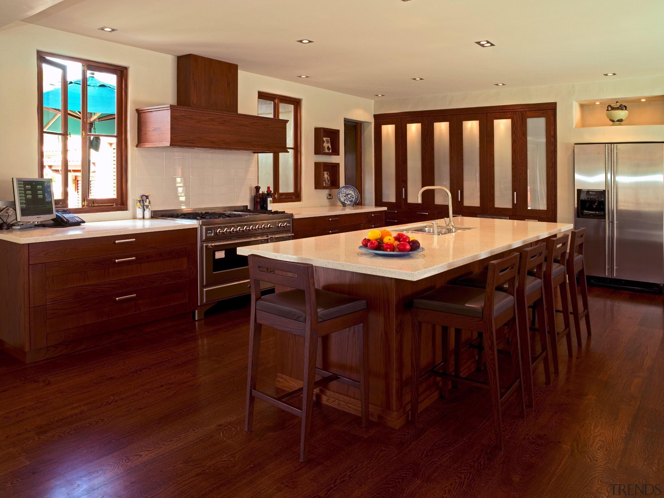 139 onetaunga kitchen - Onetaunga Kitchen - cabinetry cabinetry, countertop, cuisine classique, floor, flooring, hardwood, interior design, kitchen, laminate flooring, property, real estate, room, wood, wood flooring, red, orange