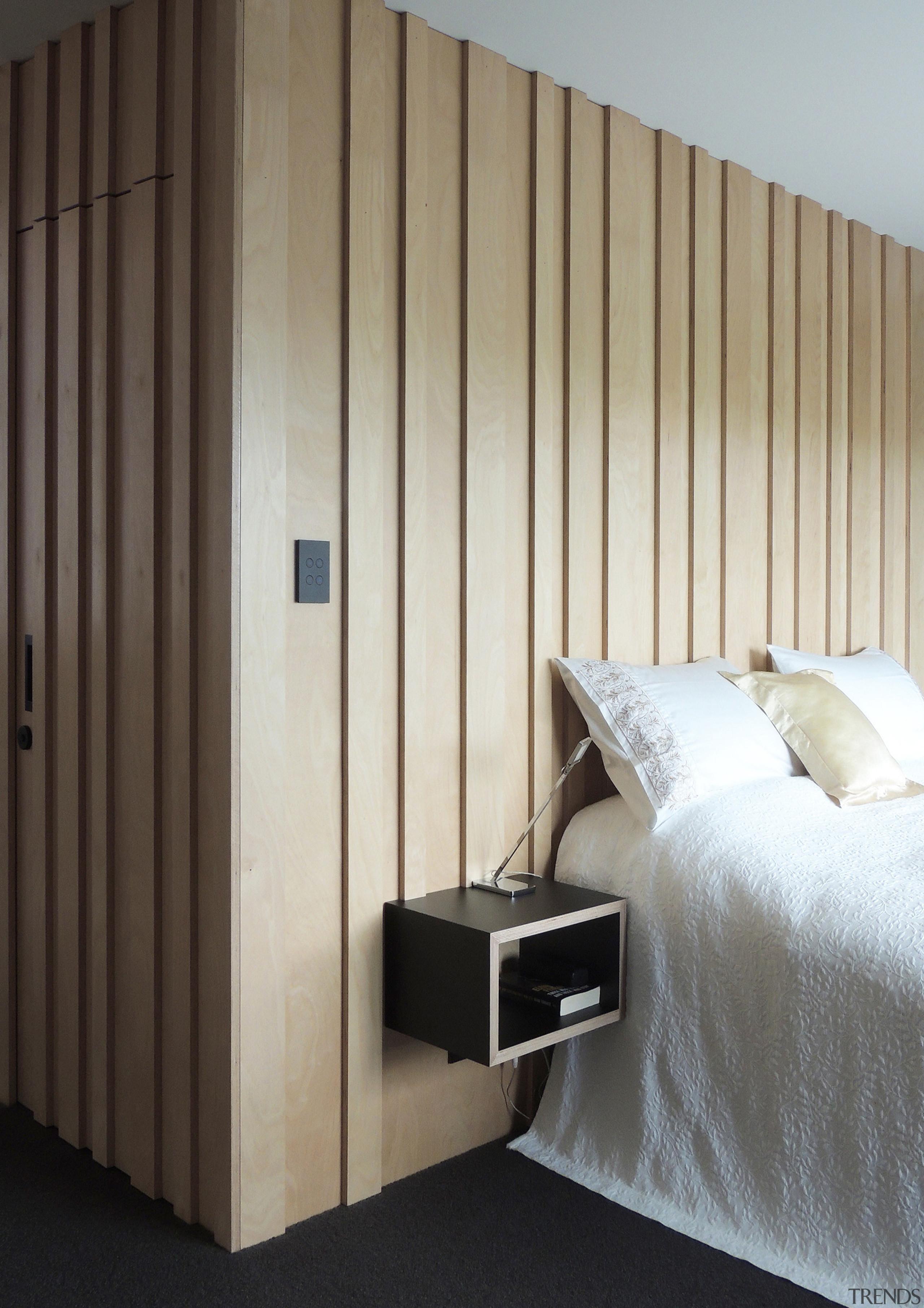 So, where's the bathroom? A birch-ply batten door furniture, wall, wardrobe, gray, black
