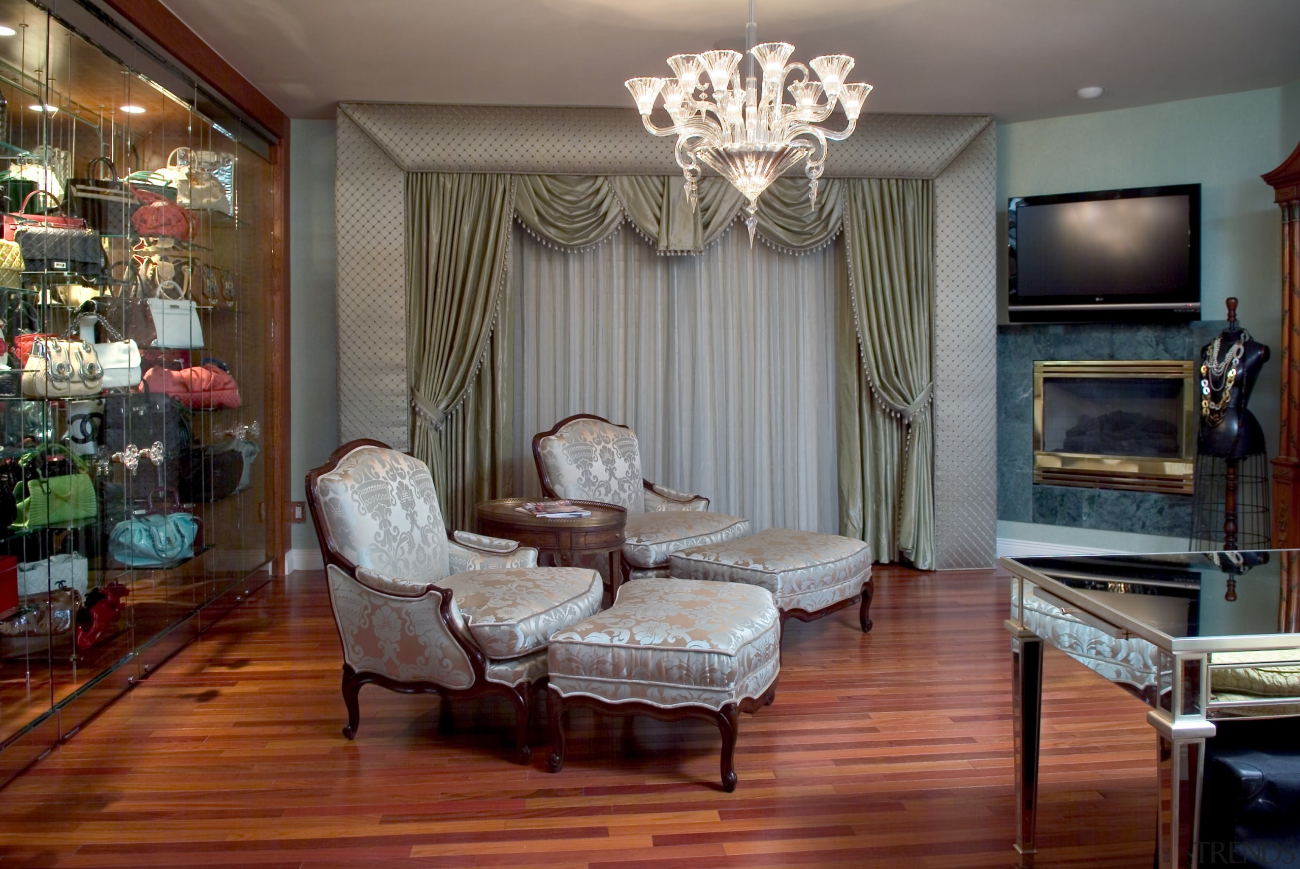 Hand bag room with day chairs - Hand ceiling, floor, flooring, furniture, home, interior design, living room, room, wall, gray