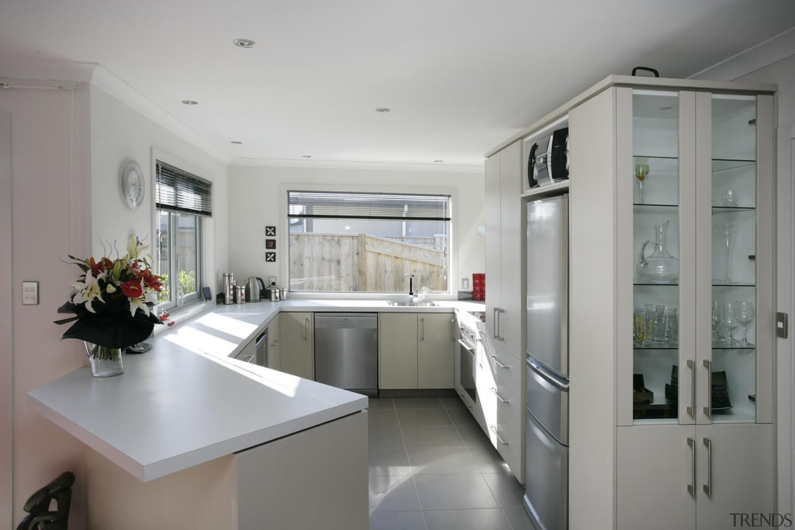 Functional kitchen in award winning 'Bridget' town house countertop, interior design, kitchen, real estate, room, gray