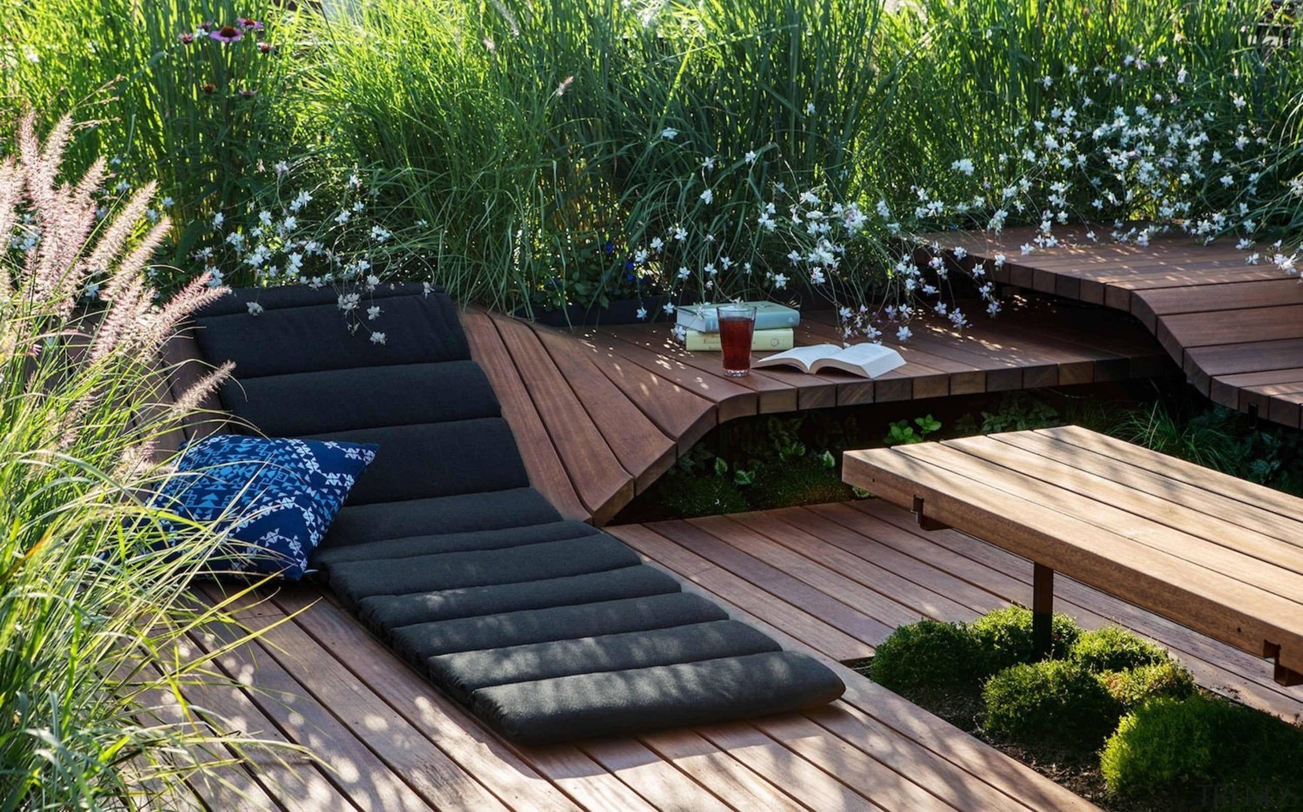 Architect: J.Roc Design backyard, deck, grass, outdoor furniture, outdoor structure, plant, sunlounger, green, black
