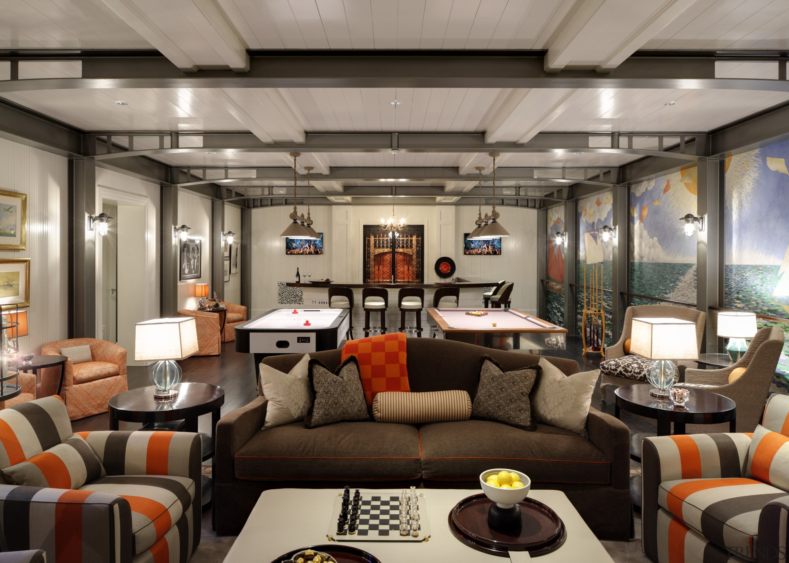 The main room features substantial metal wall and interior design, living room, gray, black