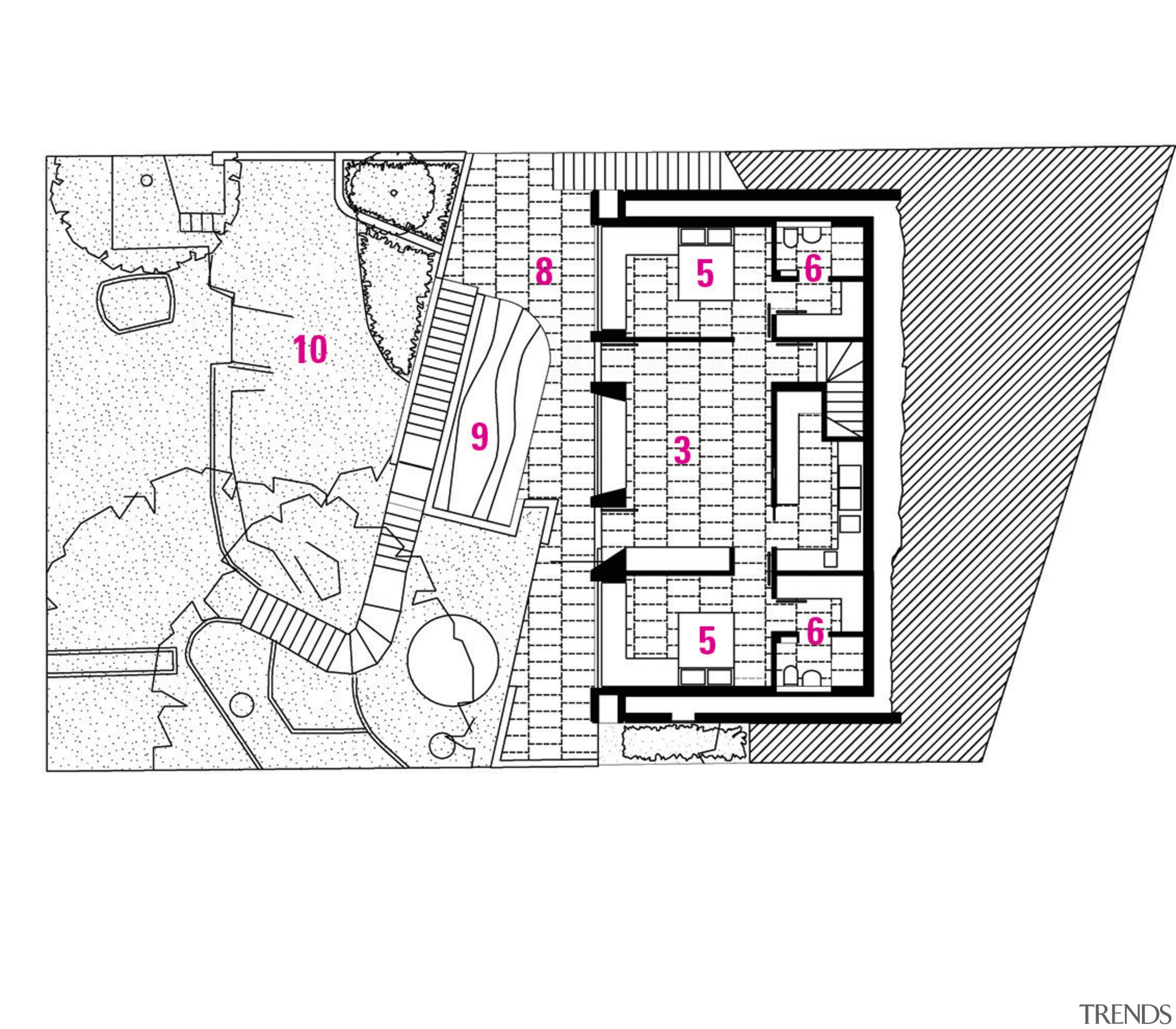 1 Garge. 2 Entry. 3 Family room. 4 area, design, diagram, drawing, floor plan, font, line, pattern, plan, product, product design, structure, text, white