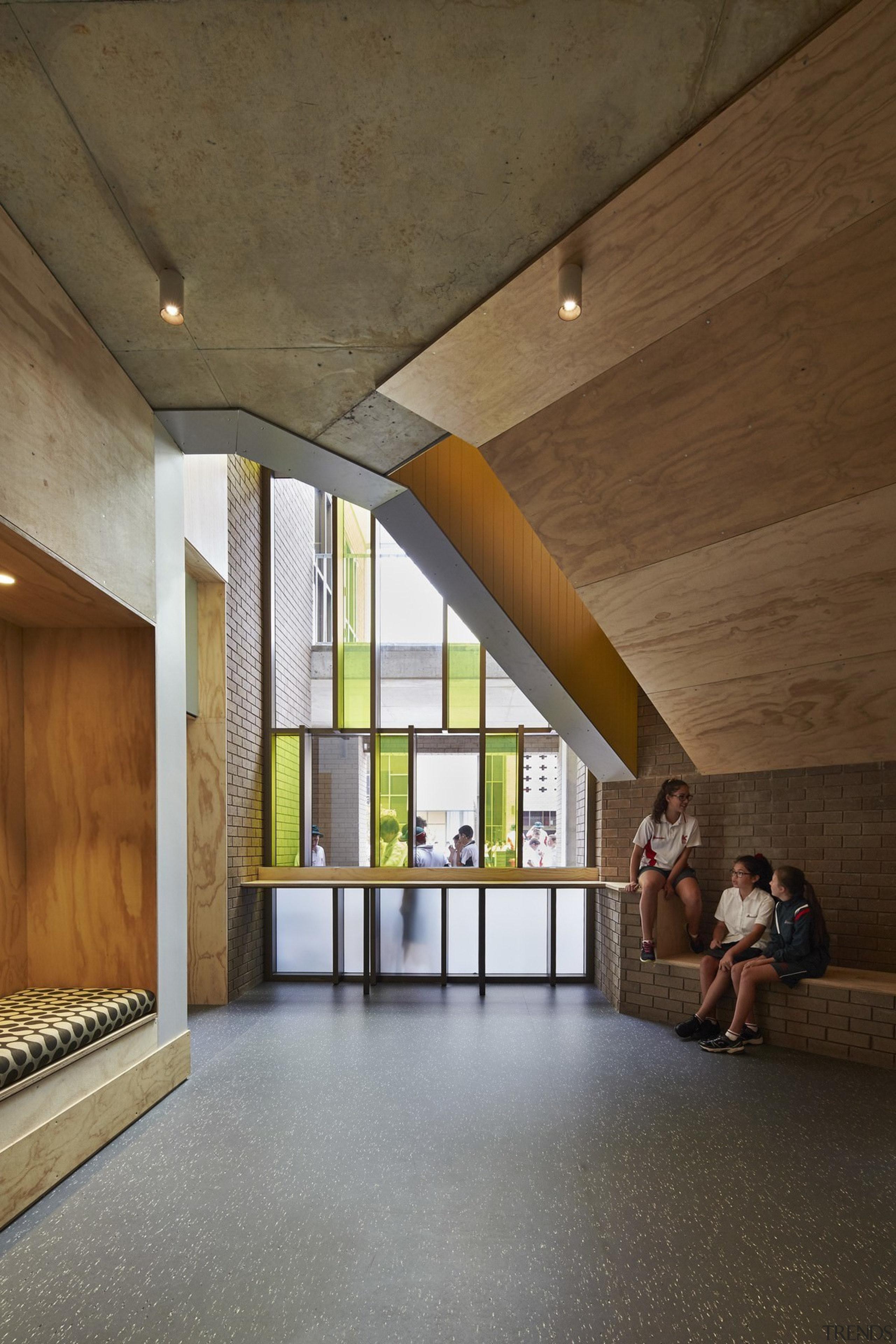 Bunbury Catholic College – Mercy Campus - Bunbury architecture, ceiling, daylighting, floor, house, interior design, lobby, wood, brown, gray