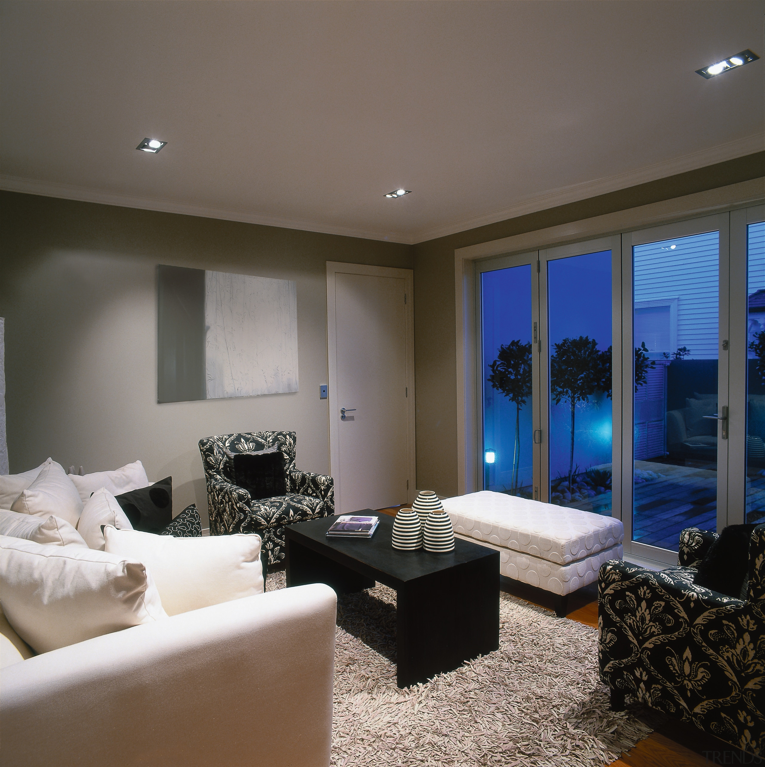 View of this living area - View of ceiling, floor, home, interior design, living room, property, real estate, room, wall, window, wood, gray