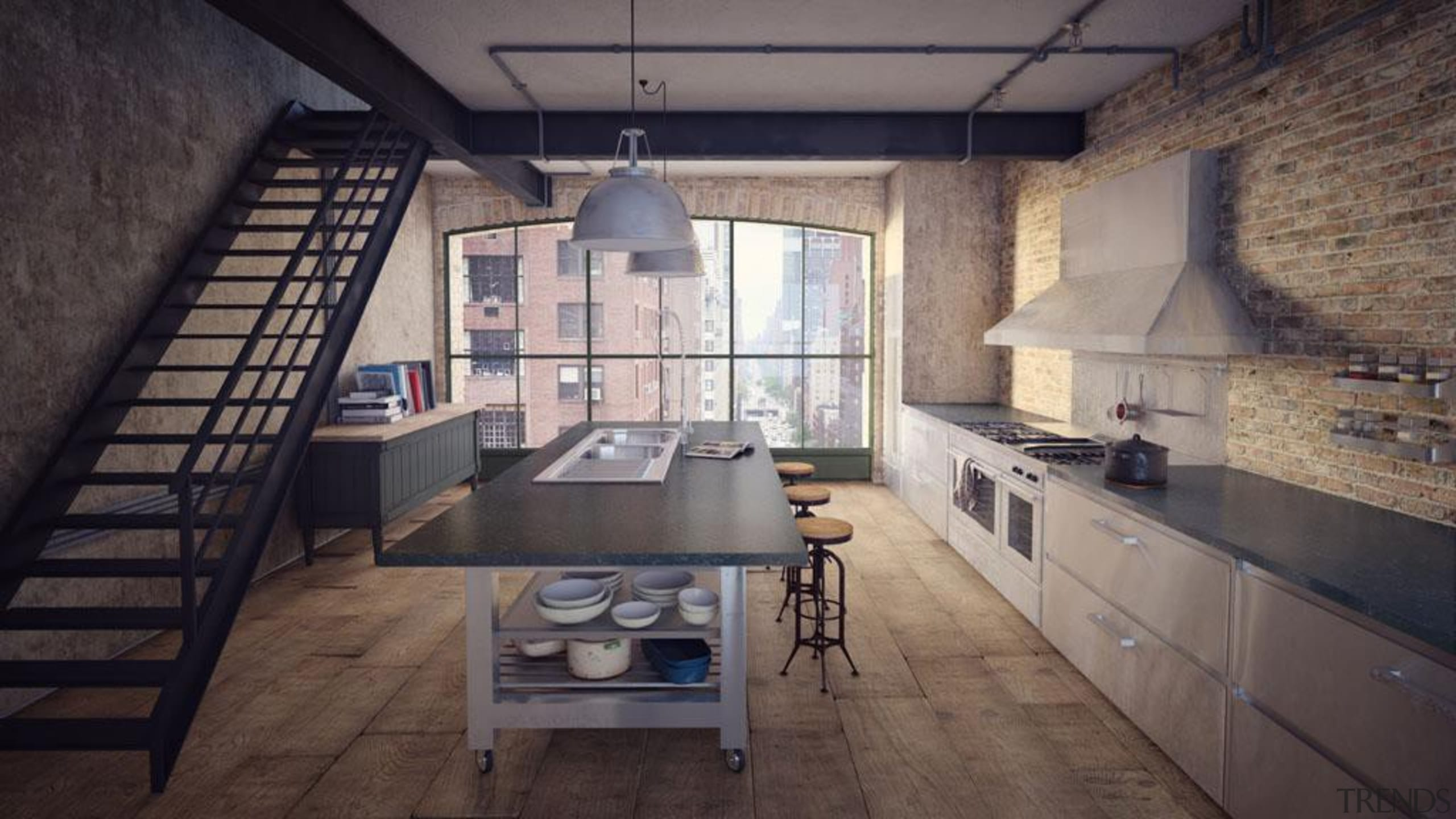 Smooth slate grey with chalky white veins. - ceiling, countertop, daylighting, interior design, loft, property, black, gray