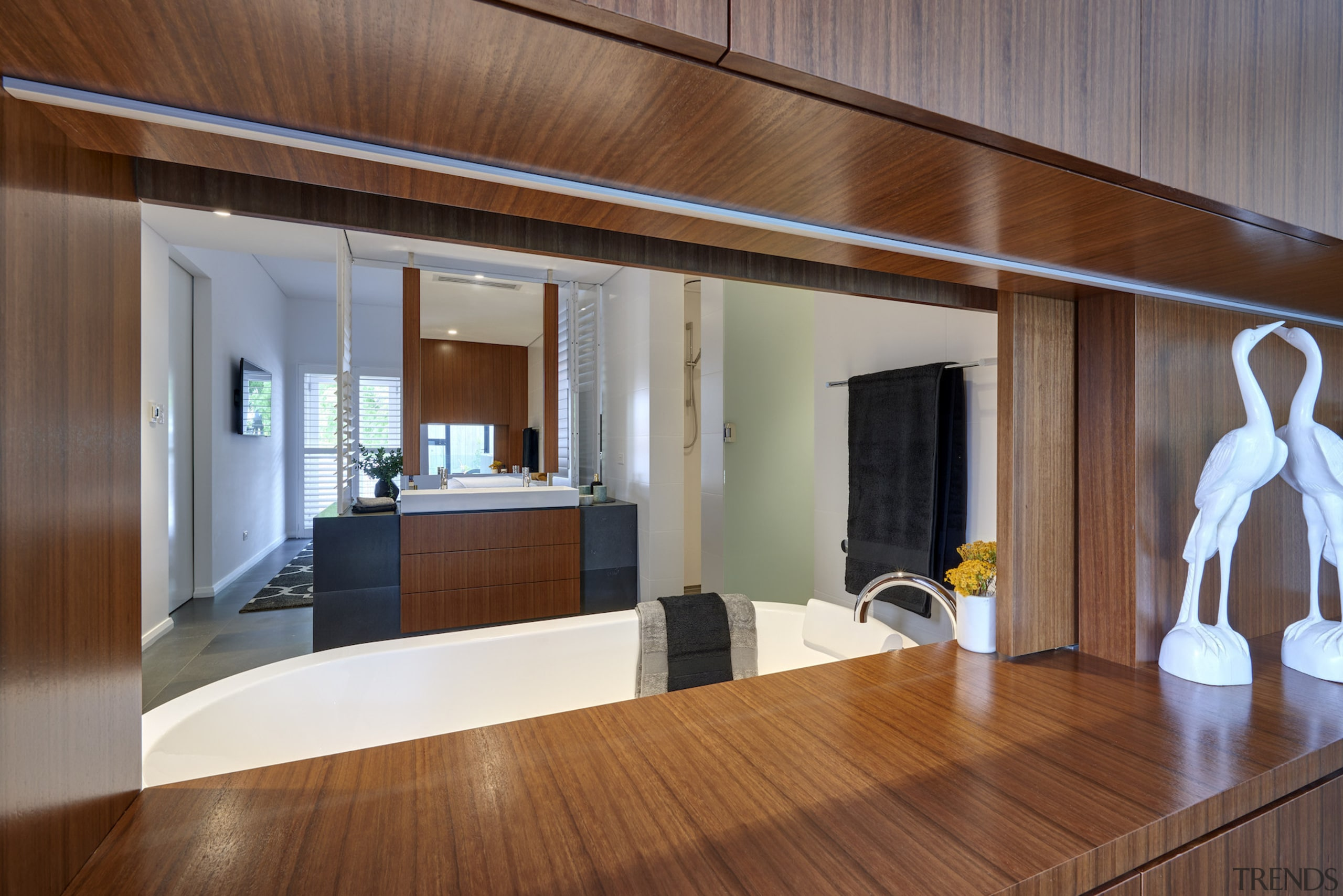 Extended sightlines run right across this master suite architecture, floor, flooring, hardwood, house, interior design, room, wood, wood flooring, brown, gray