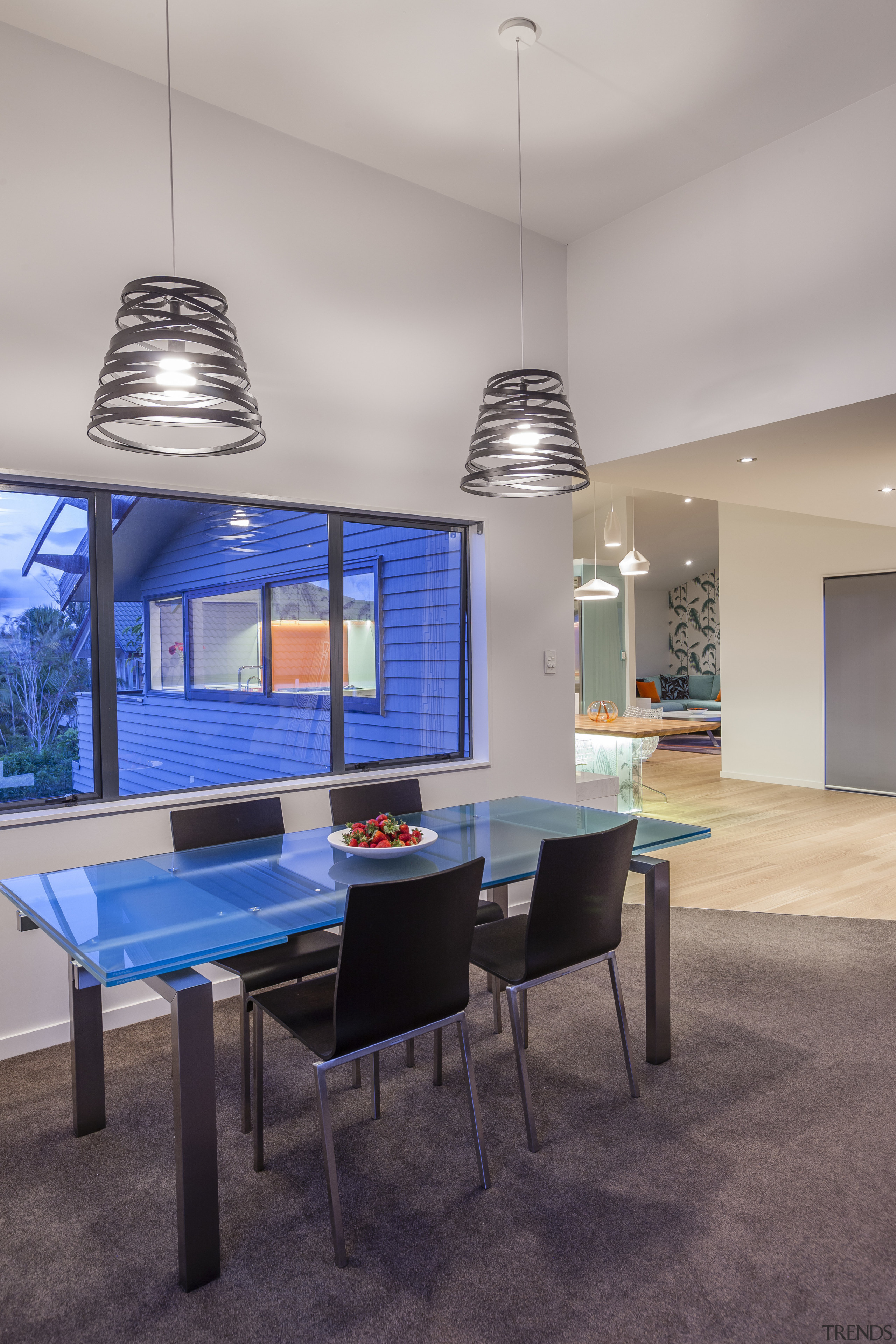 All living and dining areas flow from this architecture, ceiling, chair, furniture, house, interior design, table, gray
