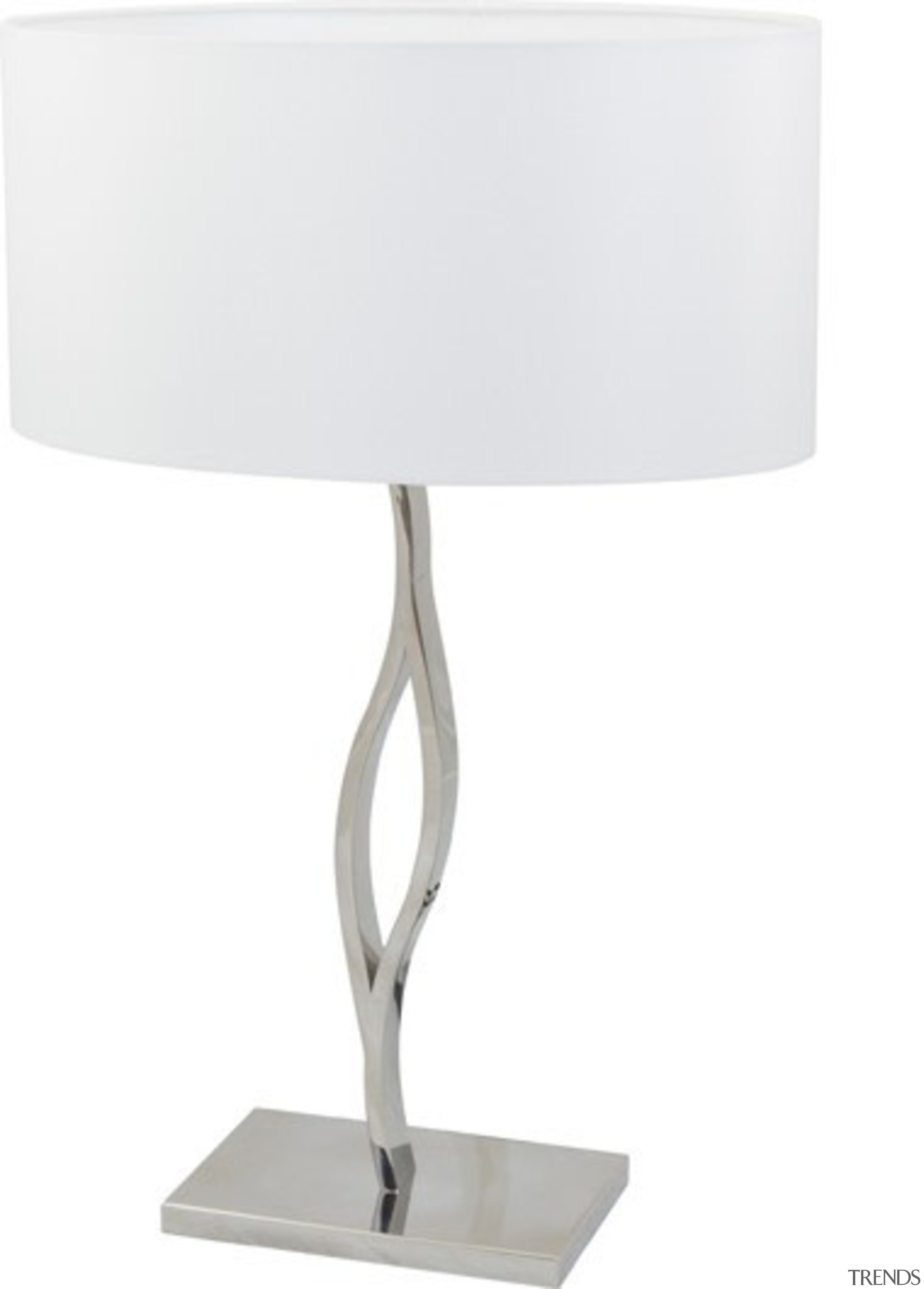 FeaturesCombining a crisp white oval fabric shade with light fixture, lighting, product design, table, white