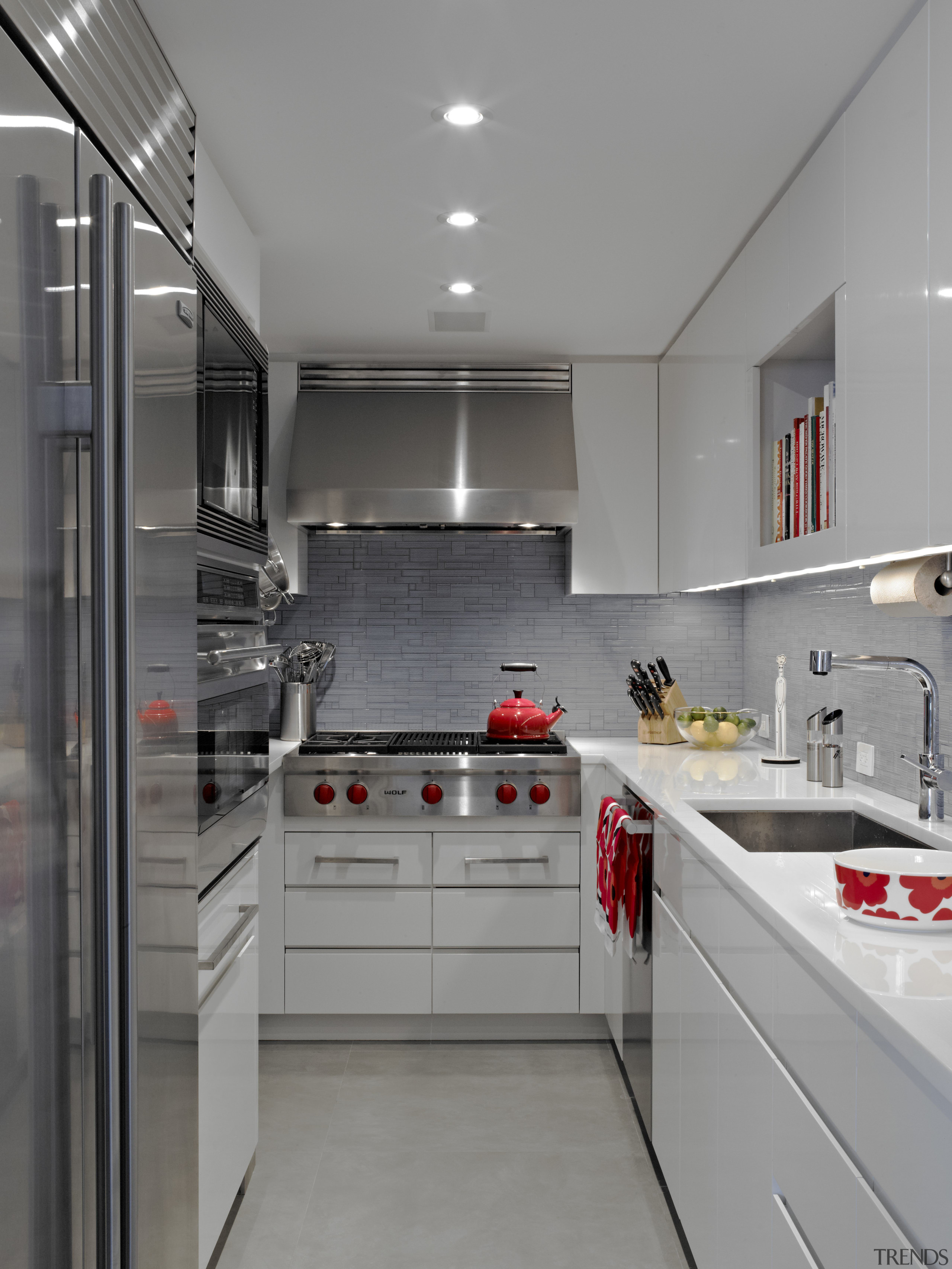 A small work triangle in this new apartment cabinetry, countertop, cuisine classique, interior design, kitchen, gray