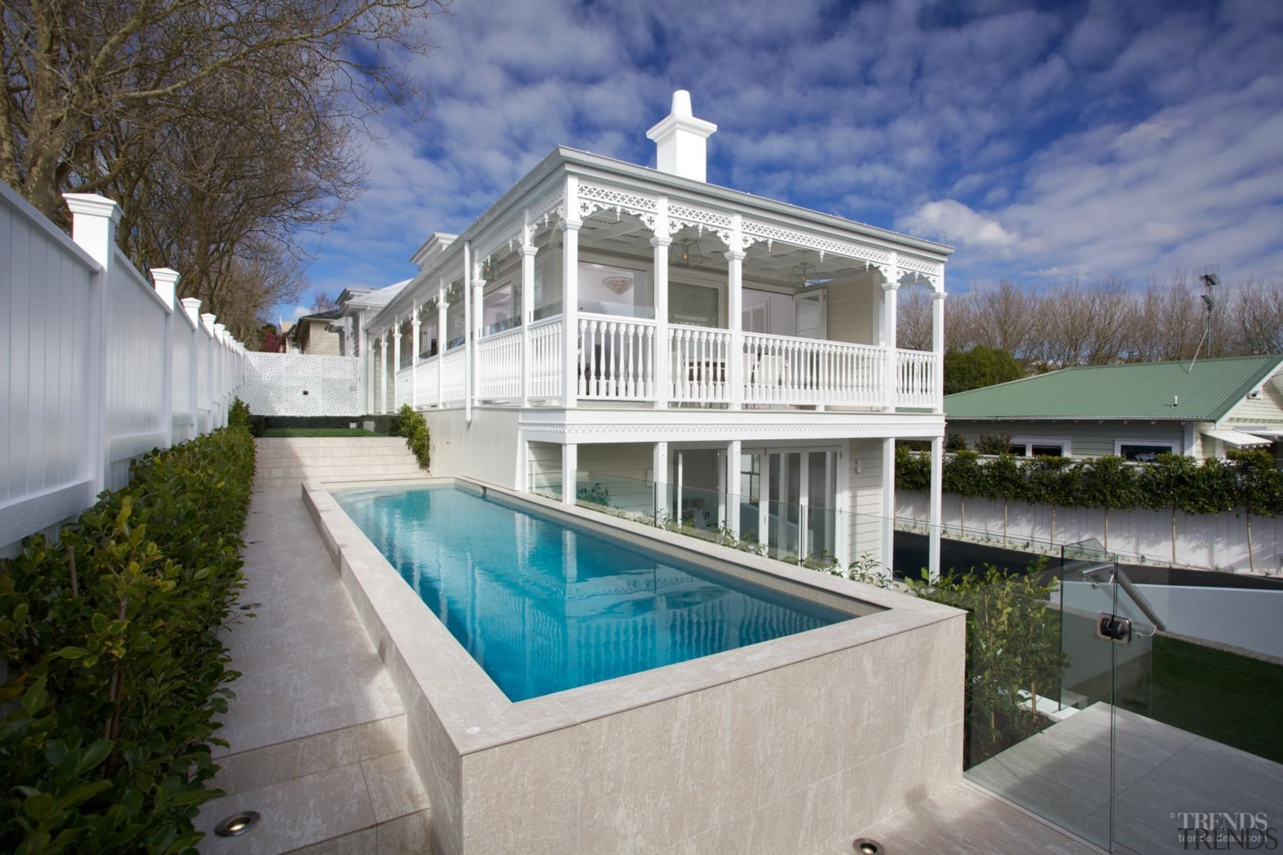 Grand affair – classic weatherboards, filigree detailing and apartment, architecture, estate, home, house, property, real estate, swimming pool, villa, water, gray