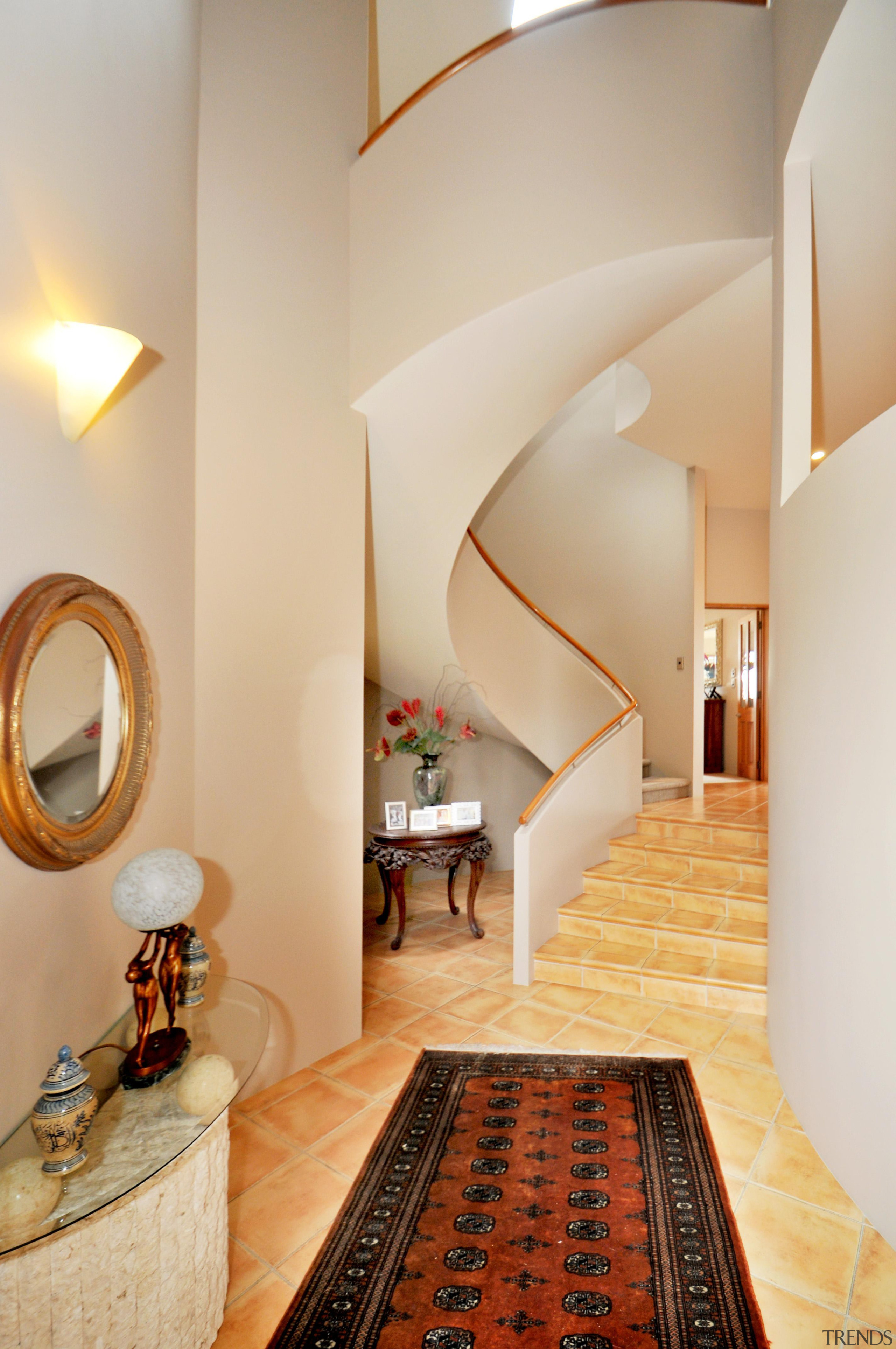 Stairs - architecture | ceiling | daylighting | architecture, ceiling, daylighting, floor, flooring, home, interior design, room, stairs, suite, gray, orange