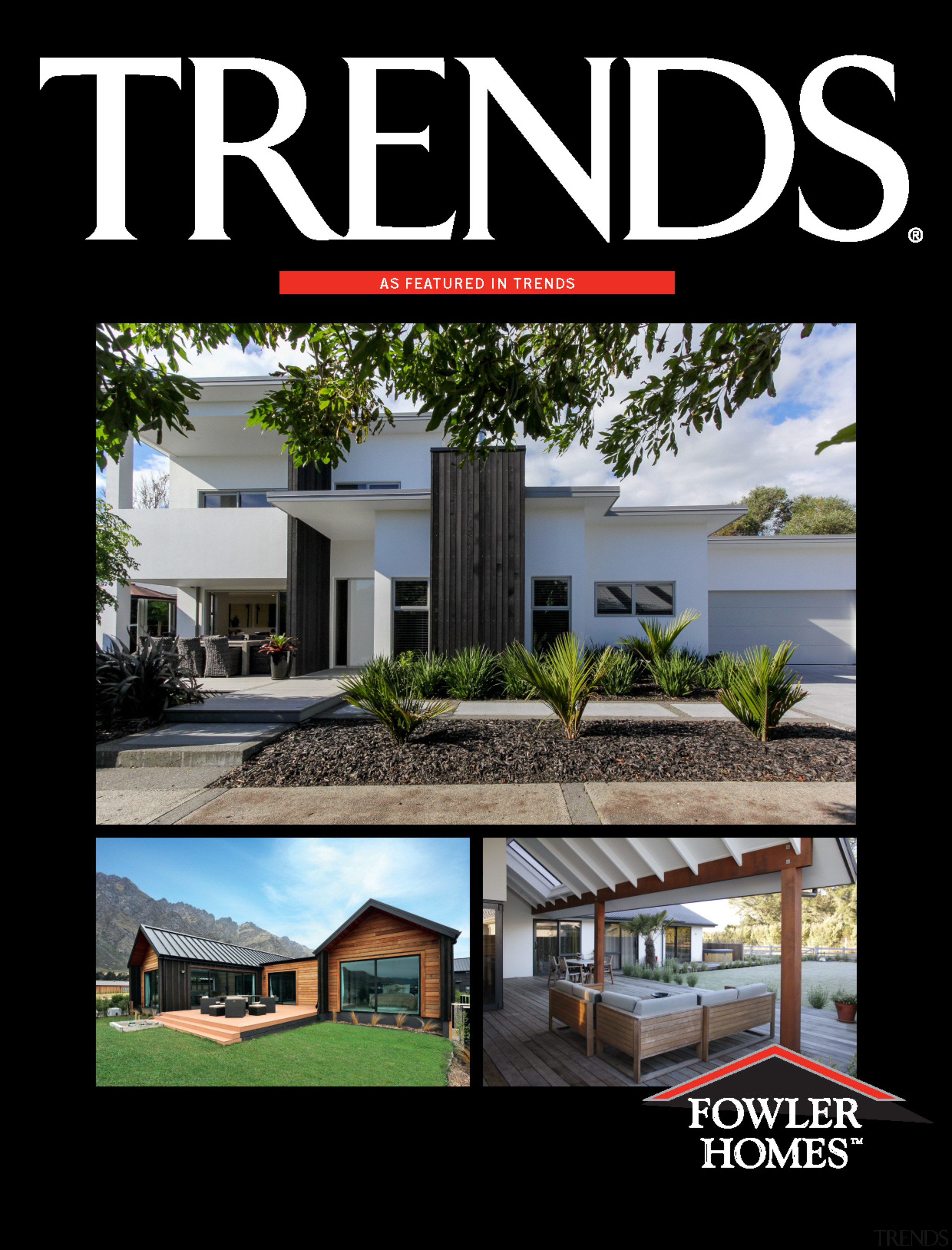 Fowler Homes Cover 2018 - advertising | architecture advertising, architecture, elevation, facade, home, house, property, real estate, residential area, roof, black