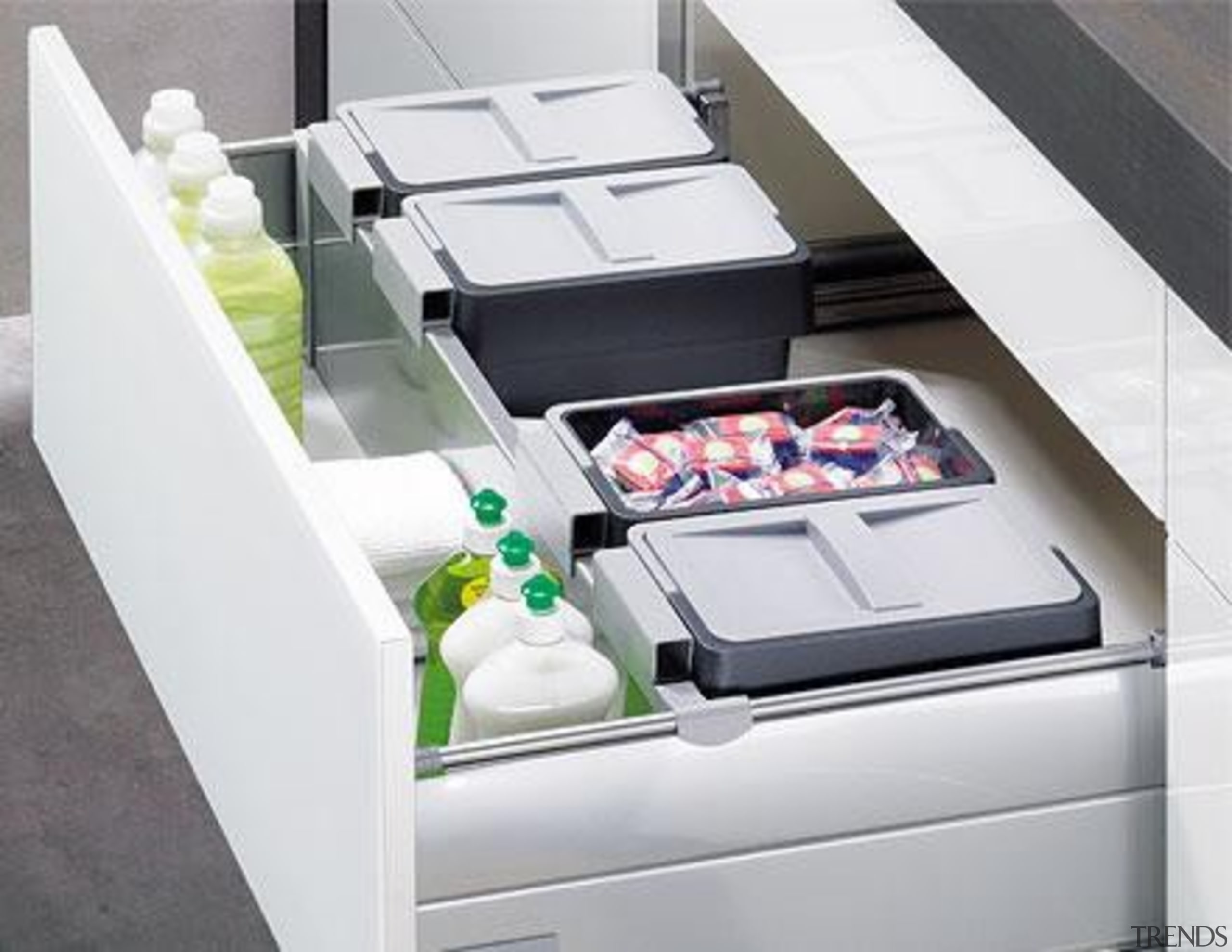 Special under-sink pull-outs skilfully use every inch of furniture, product, product design, table, white