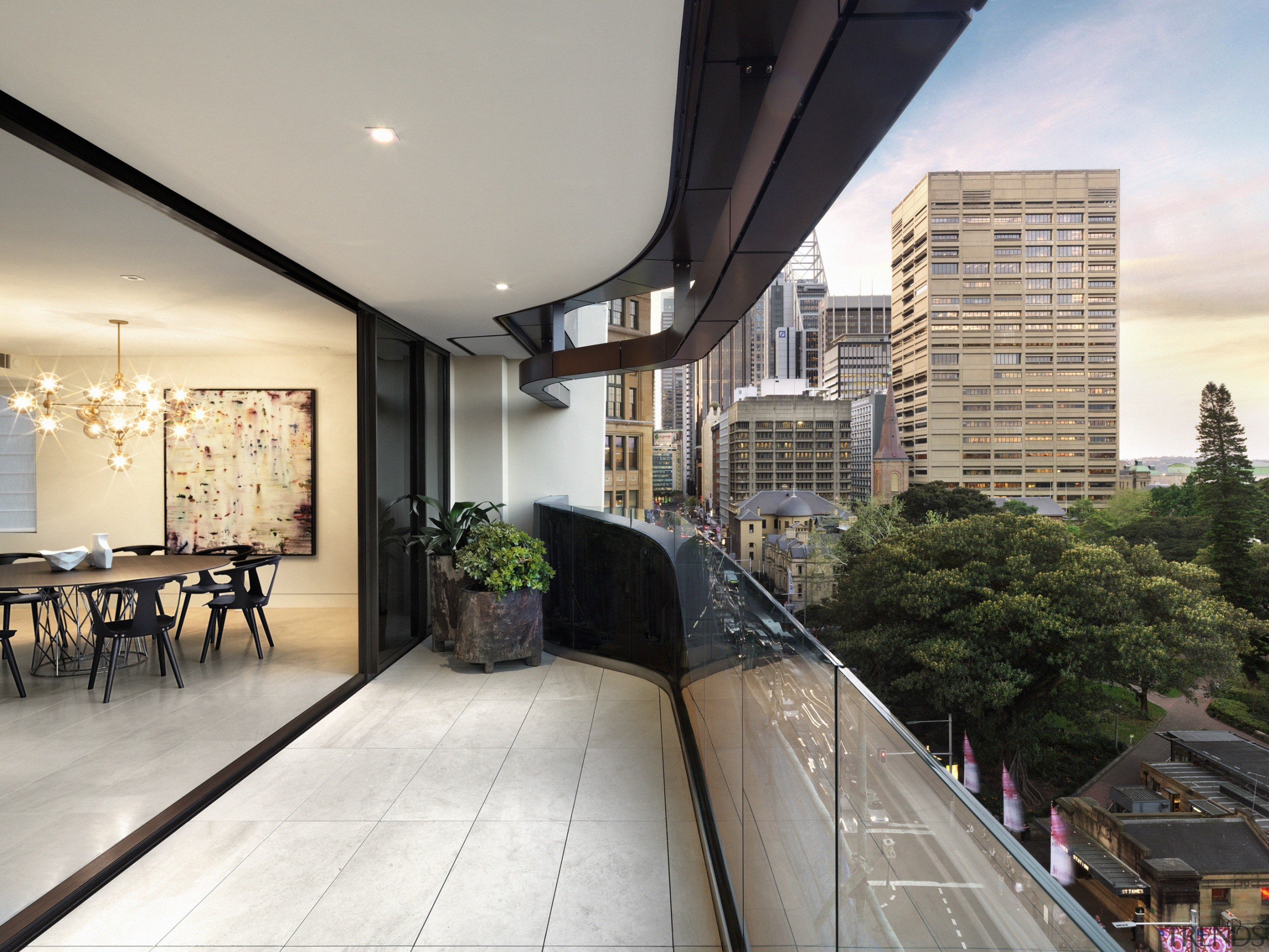 These large ranchsliding doors open up the living apartment, architecture, balcony, condominium, home, house, interior design, property, real estate, roof, gray