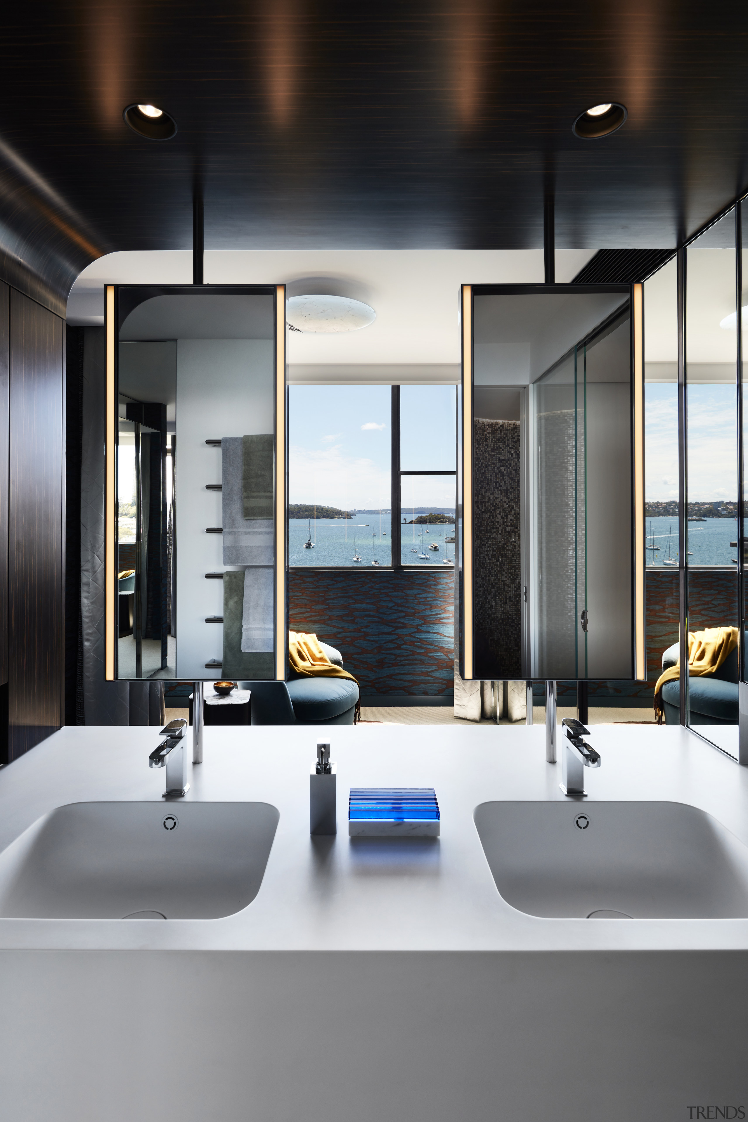 ​​​​​​​This master ensuite has bespoke tilt mirrors that architecture, bathroom, ensuite, bathroom accessory, bathroom cabinet, countertop, design, furniture, glass, home, interior design, plumbing fixture, sink, tap, tile, black, gray, white, Archer Design