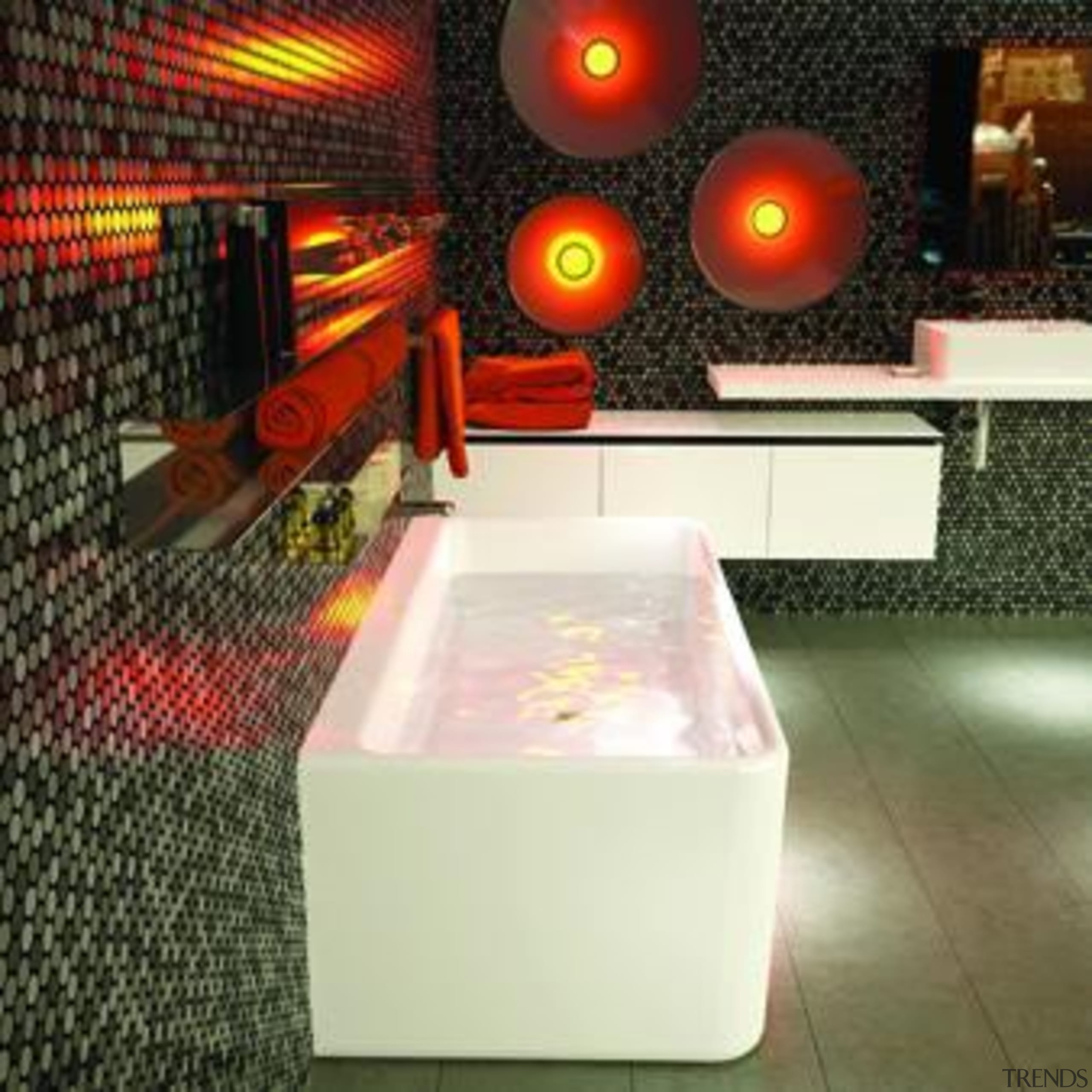 Caroma Cube Back to Wall Bath: Designed to interior design, light, lighting, table, brown