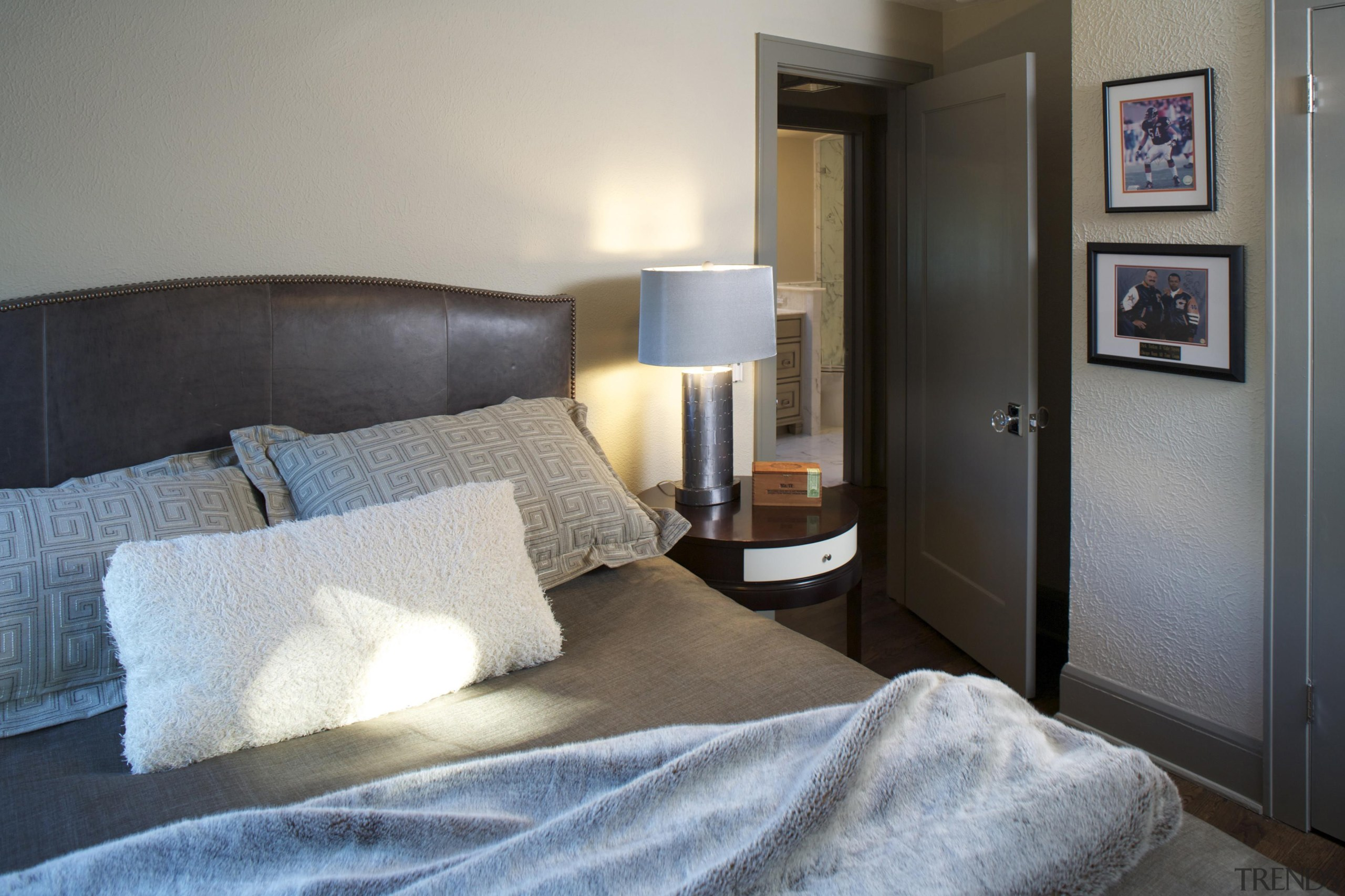 Historic Bungalow Renovation - College-Age Son's Bedroom - bed, bed frame, bedroom, home, interior design, property, real estate, room, suite, gray, black