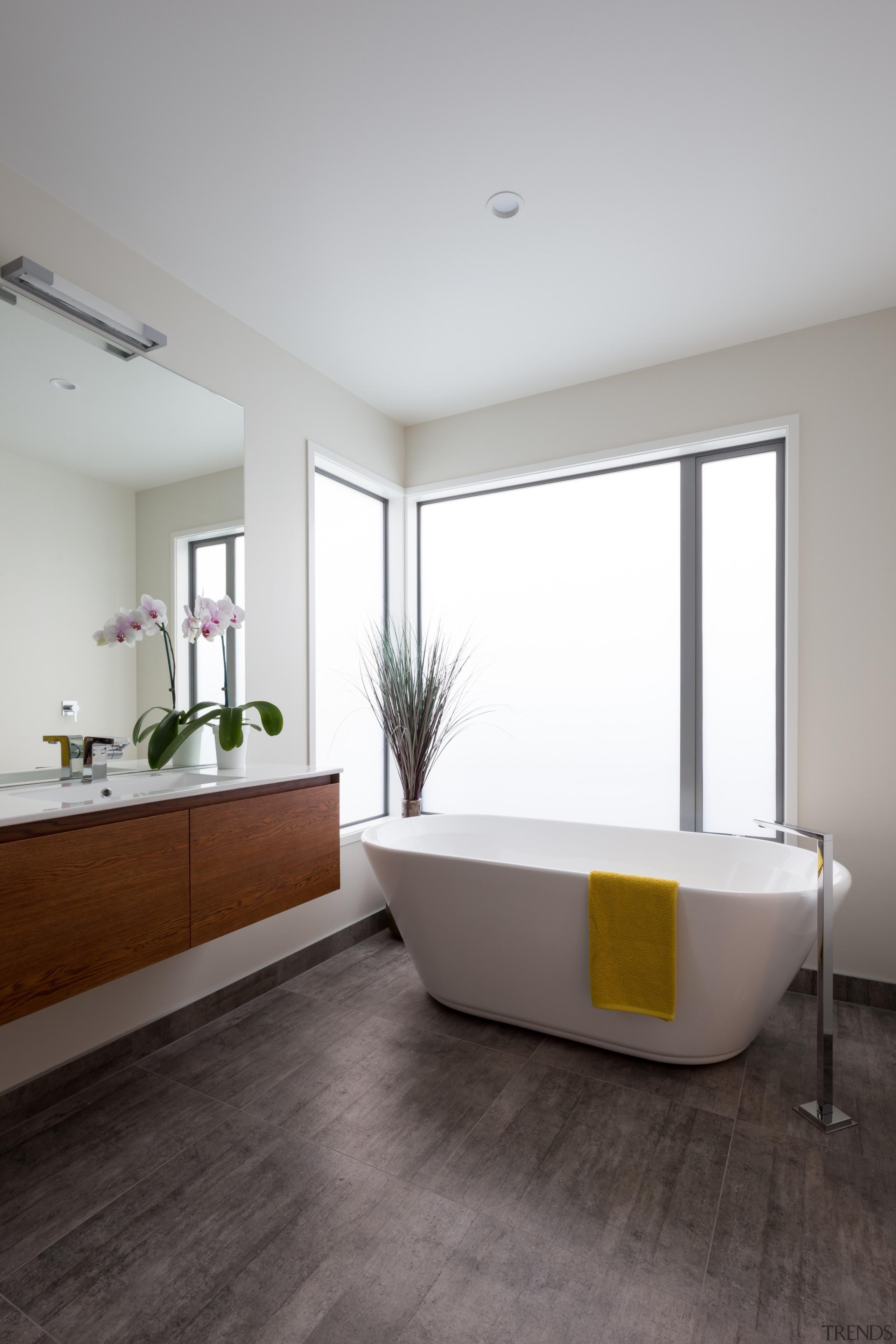 Landmark Homes Riverhead Design Bathroom - Landmark Homes architecture, bathroom, bathtub, floor, flooring, interior design, plumbing fixture, product design, room, window, white, gray