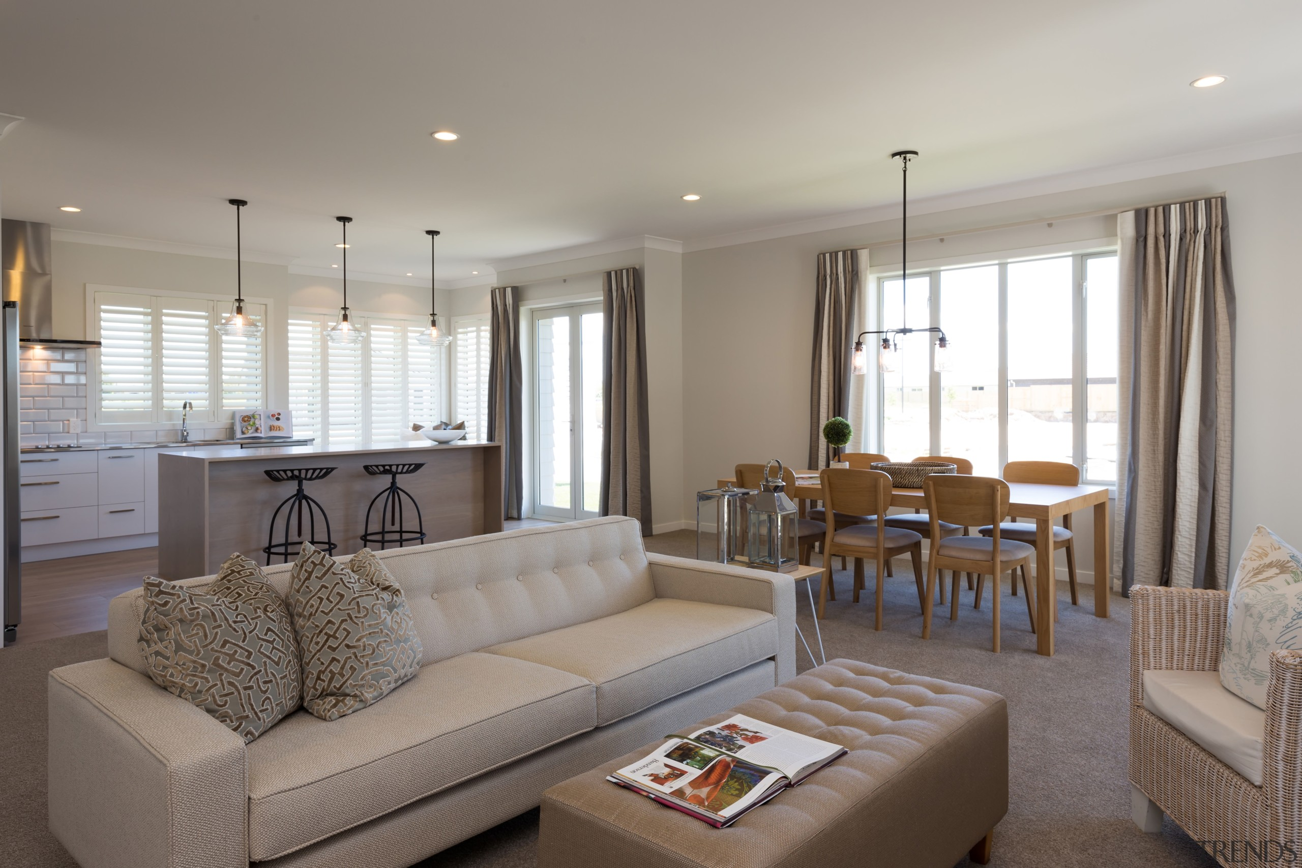 The new Landmark Homes Brookside show home in ceiling, home, interior design, living room, property, real estate, room, gray
