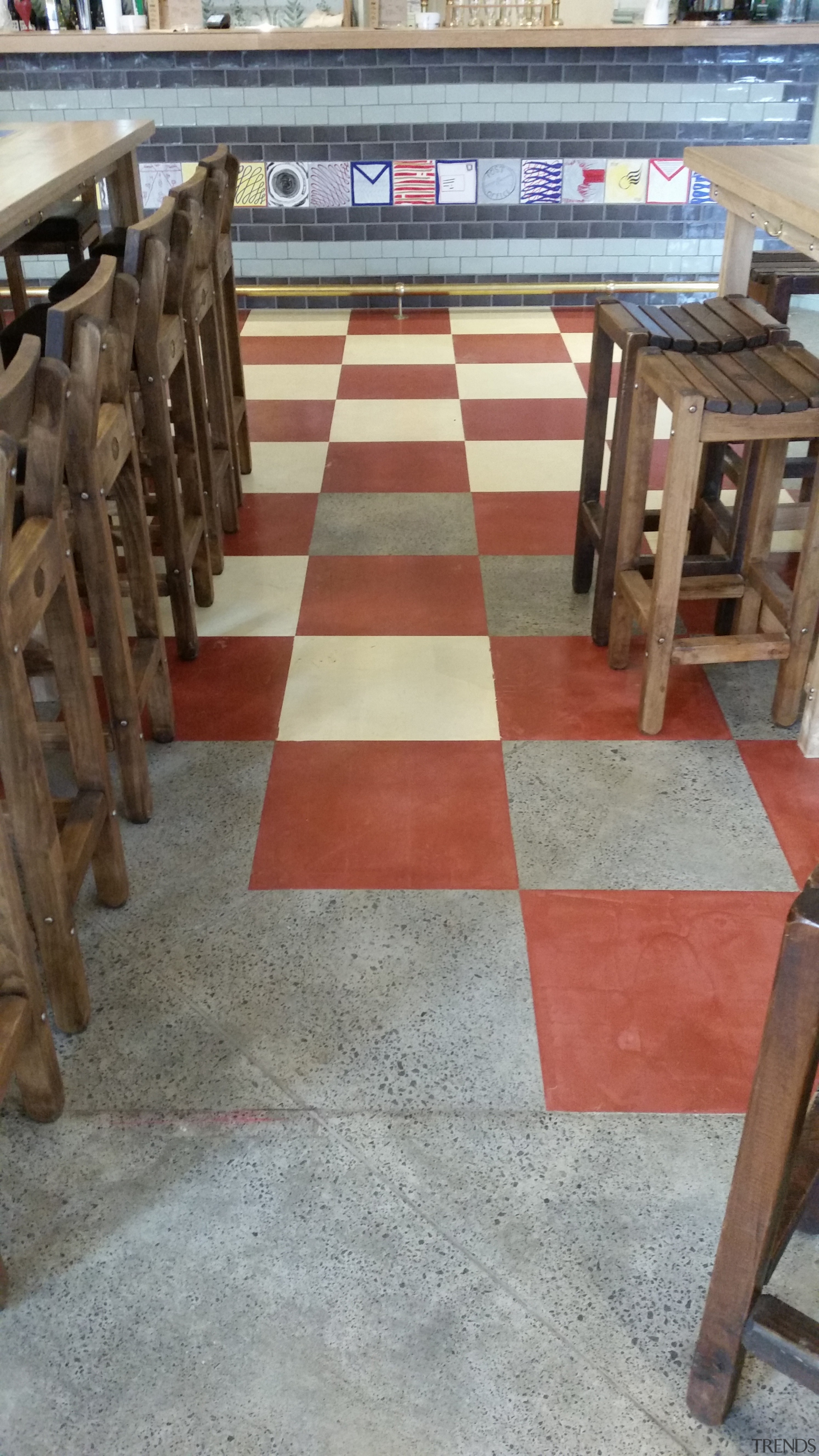 Micro Topping done at Toby Jugg Inn - chair, floor, flooring, furniture, hardwood, table, tile, wood, wood stain, gray