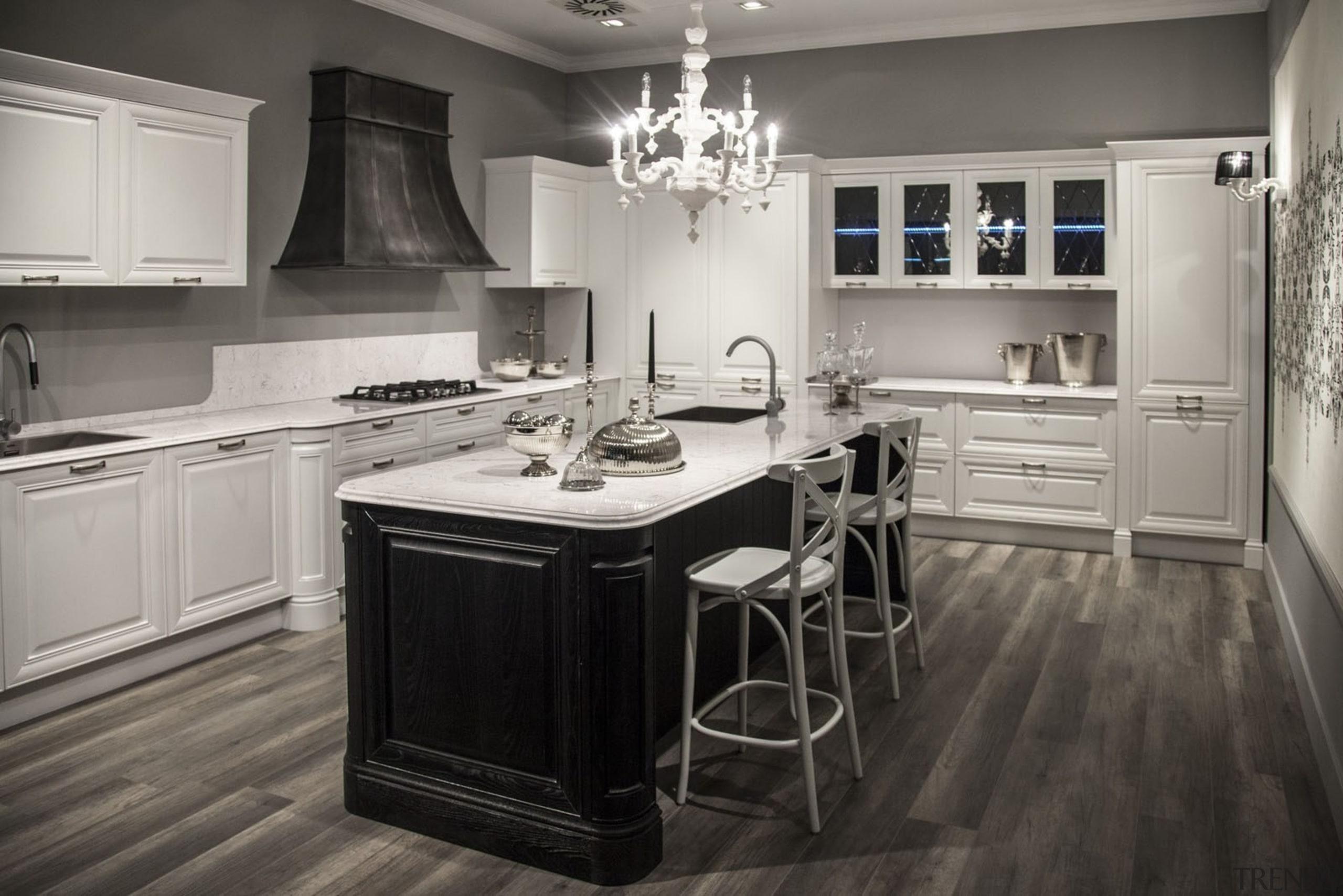 Snowy Ibiza - Kichen - Snowy Ibiza - cabinetry, countertop, cuisine classique, floor, flooring, hardwood, interior design, kitchen, room, wood flooring, gray, black