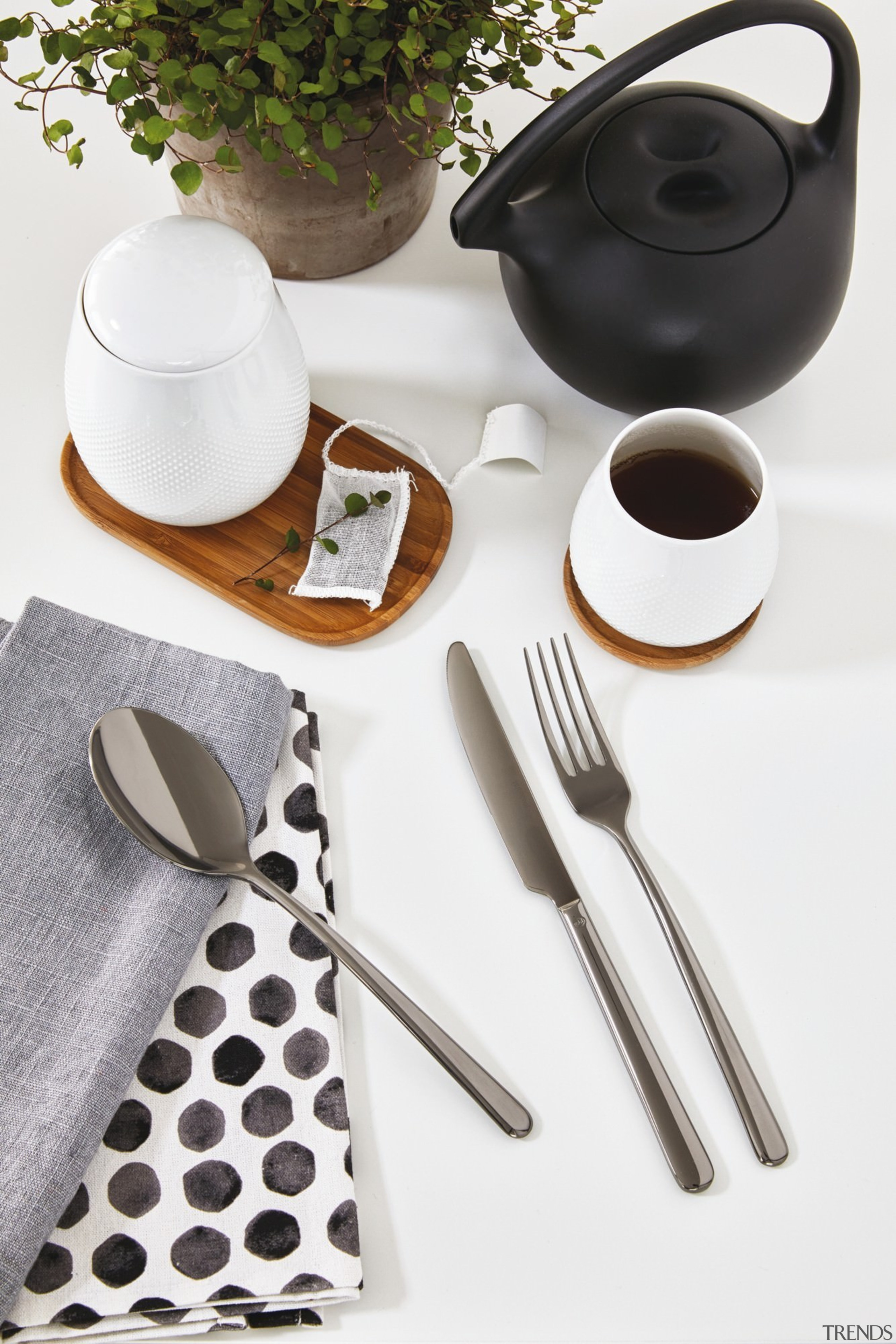 A selection from The Studio of Tableware - ceramic, cutlery, fork, product, product design, spoon, tableware, white