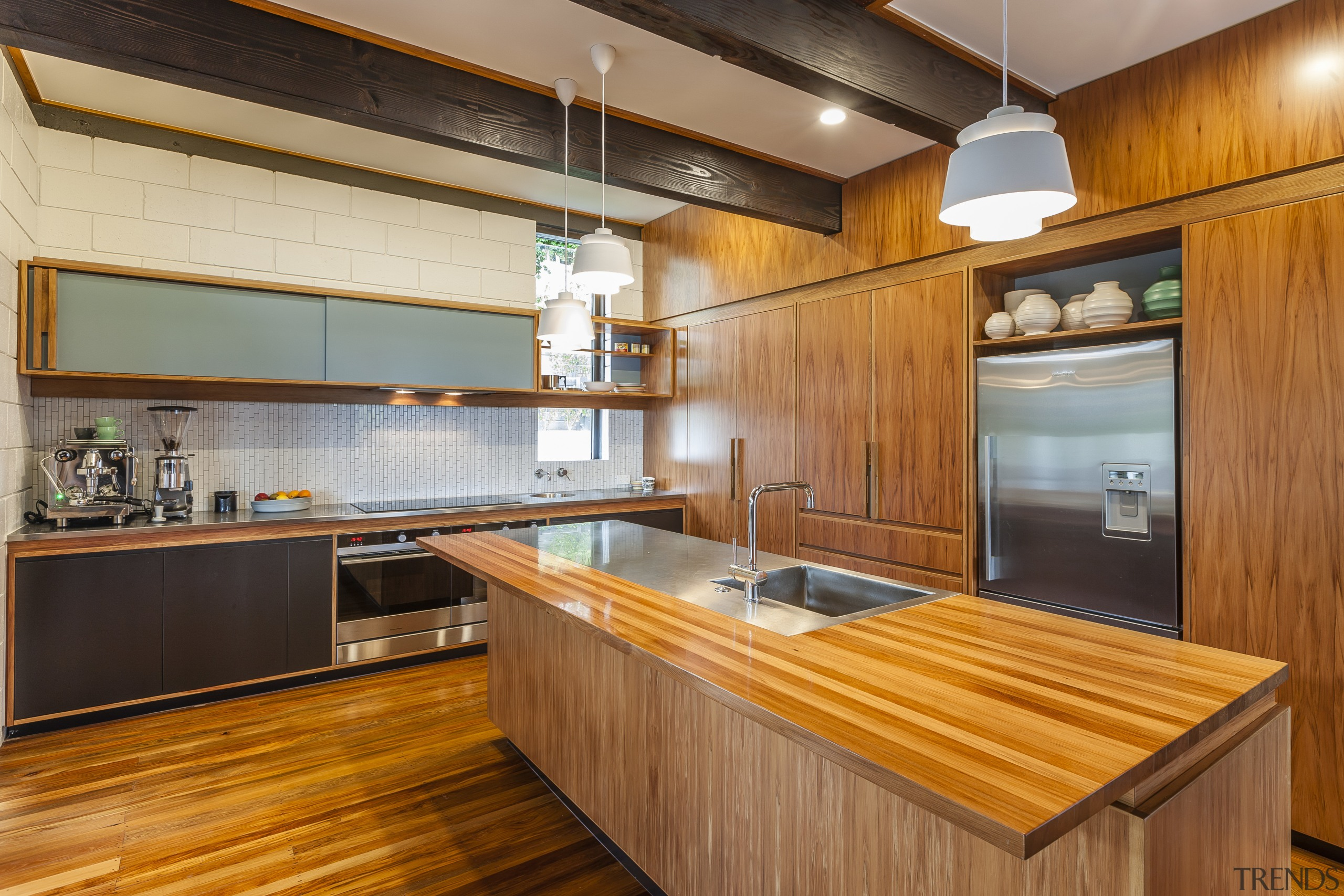 Veneer heart rimu cabinetry is combined with teal cabinetry, countertop, cuisine classique, hardwood, interior design, kitchen, real estate, room, wood, orange, brown