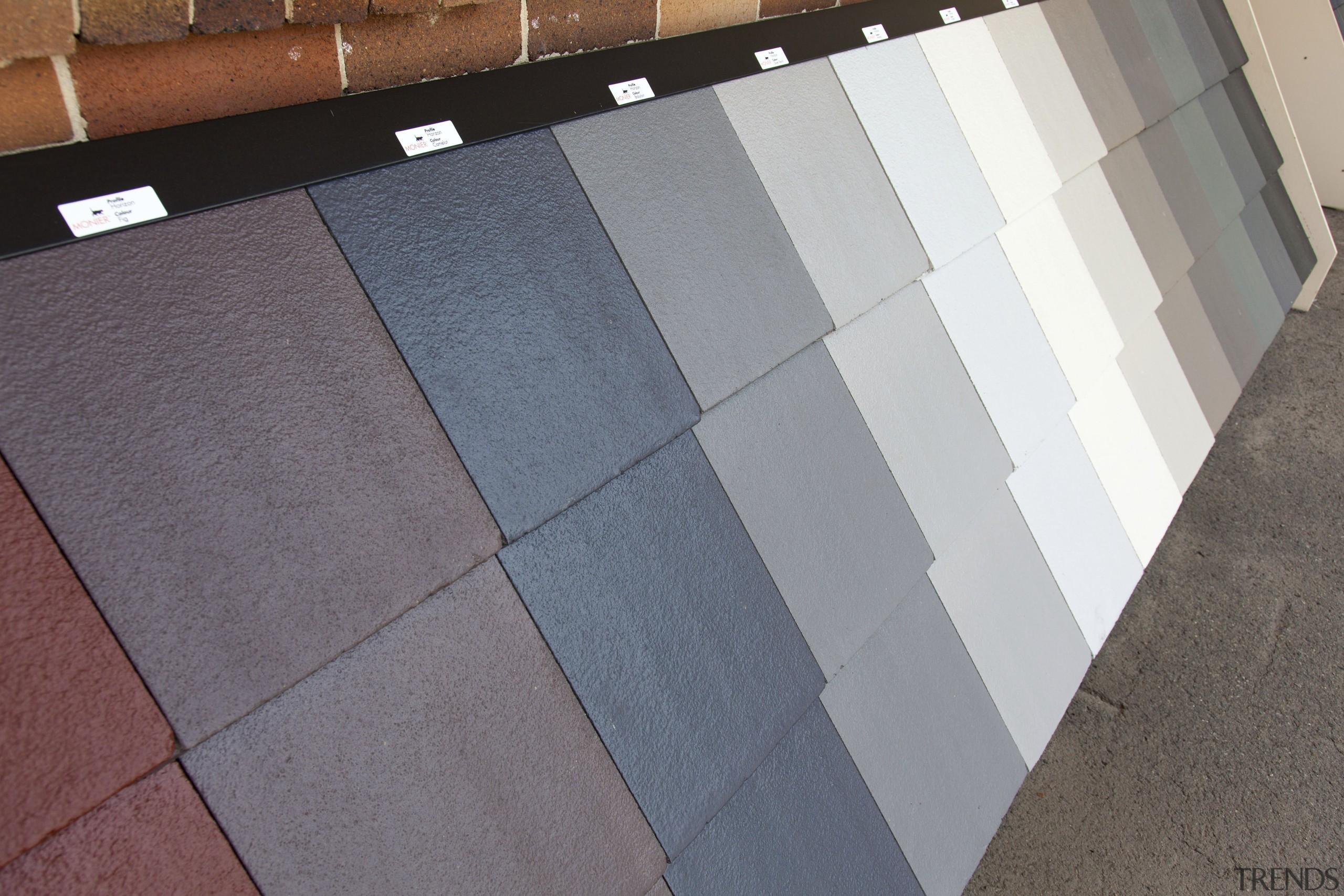 Monier Concrete tiles - Horizon on display at angle, floor, flooring, line, tile, wall, wood, gray