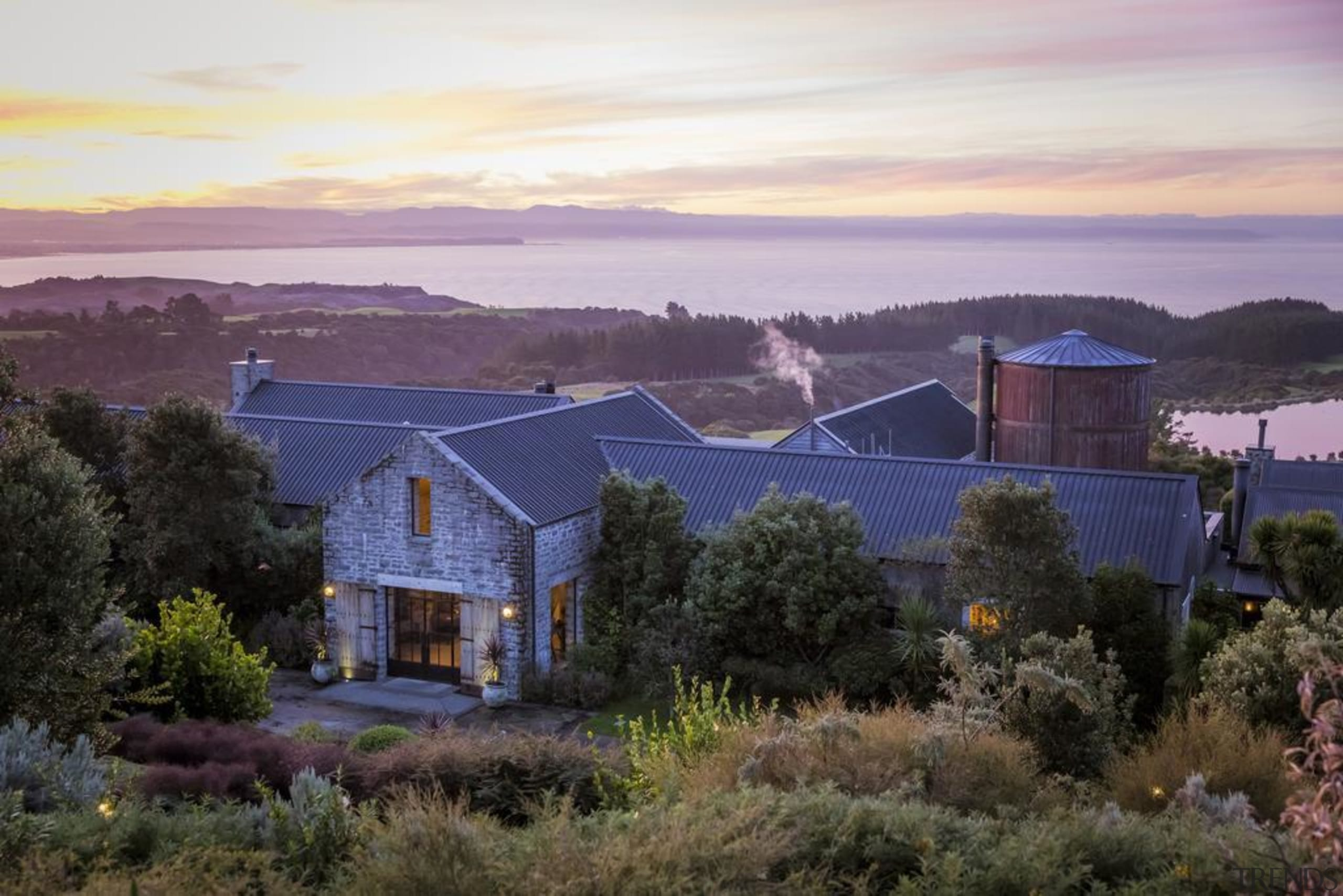 Cape Kidnappers, Hawke's Bay, New Zealand - building building, cloud, estate, evening, farm, farmhouse, fell, highland, hill, home, house, land lot, landscape, morning, property, real estate, residential area, roof, rural area, sky, suburb, sunlight, tree, black