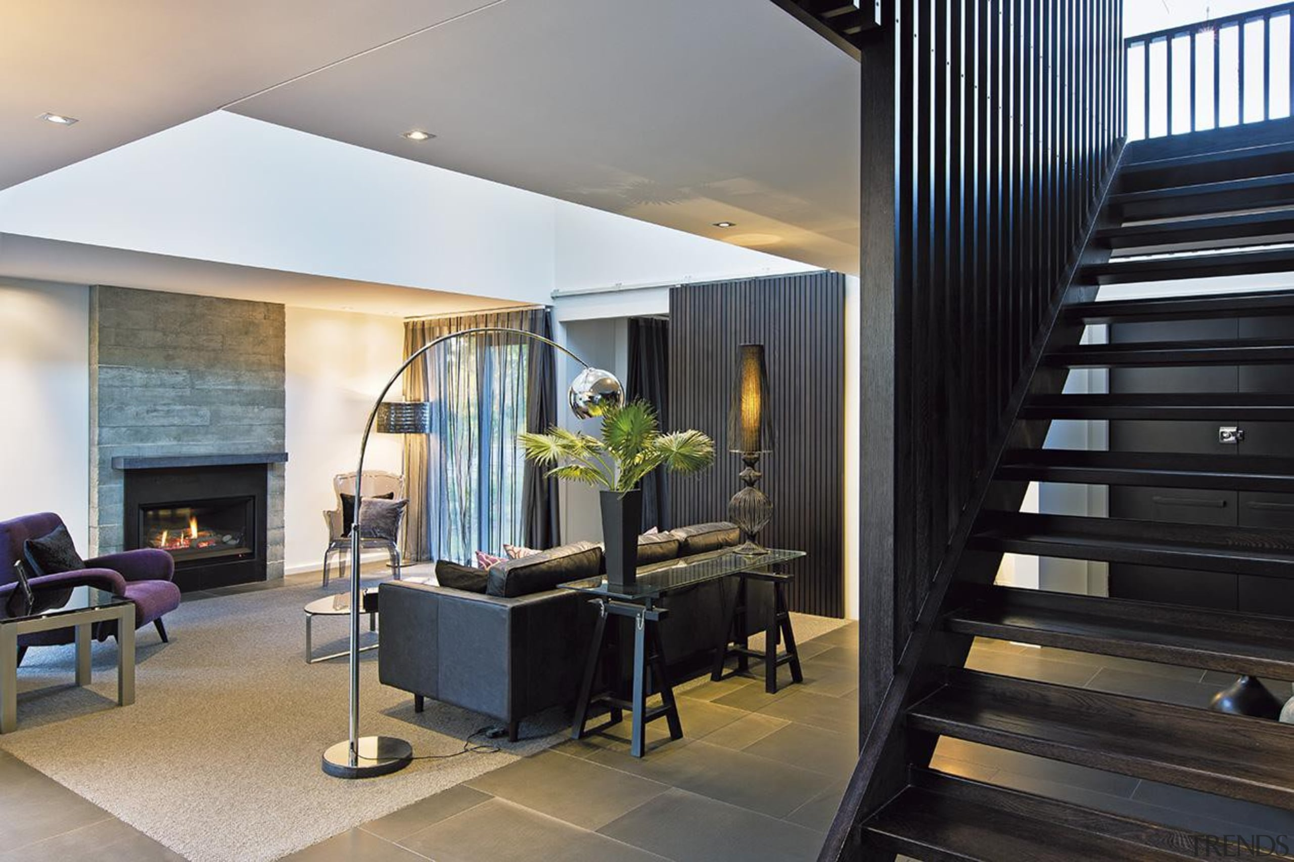For more information, please visit www.gjgardner.co.nz architecture, ceiling, house, interior design, living room, real estate, black, gray